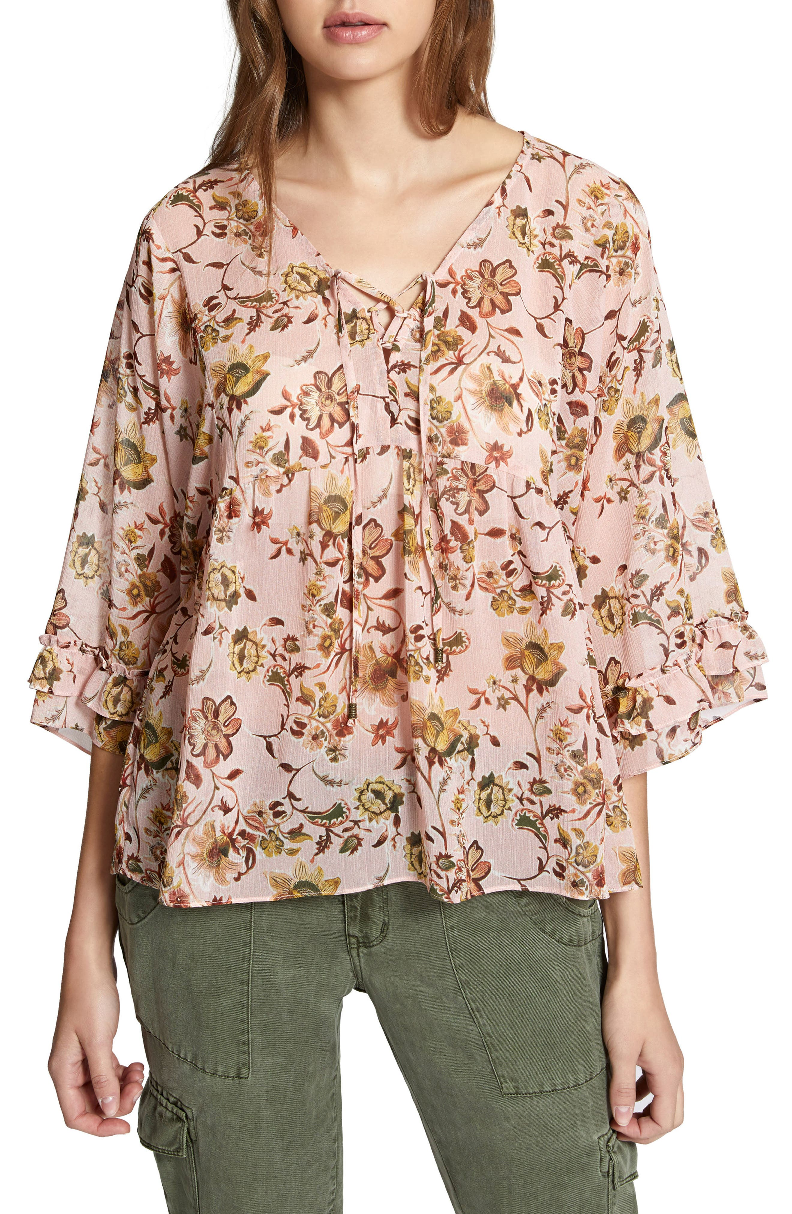 Desert Ruffle Lace-Up Blouse,                         Main,                         color, Land Of Enchantment
