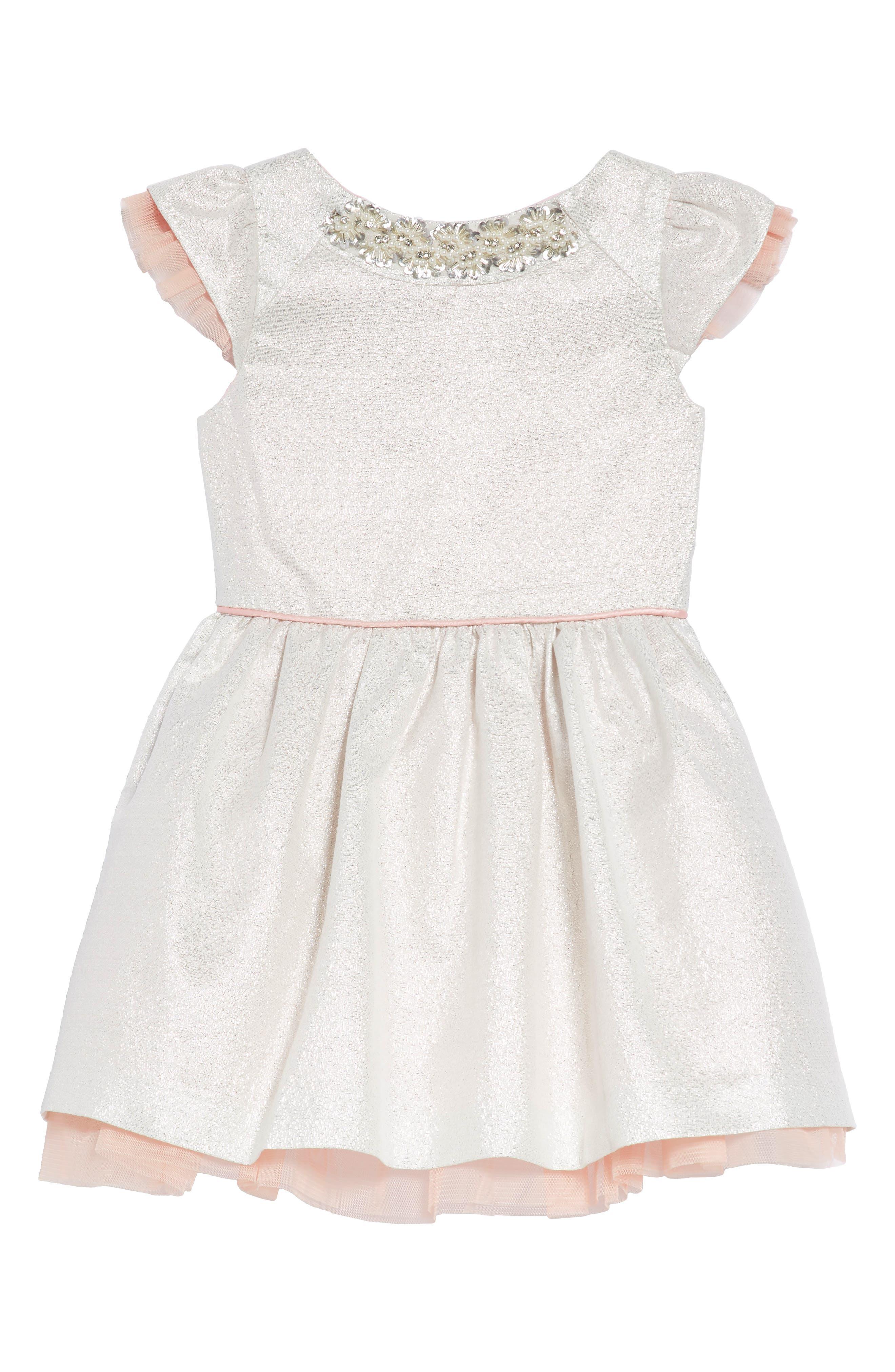 Embellished Fit & Flare Dress,                         Main,                         color, Silver