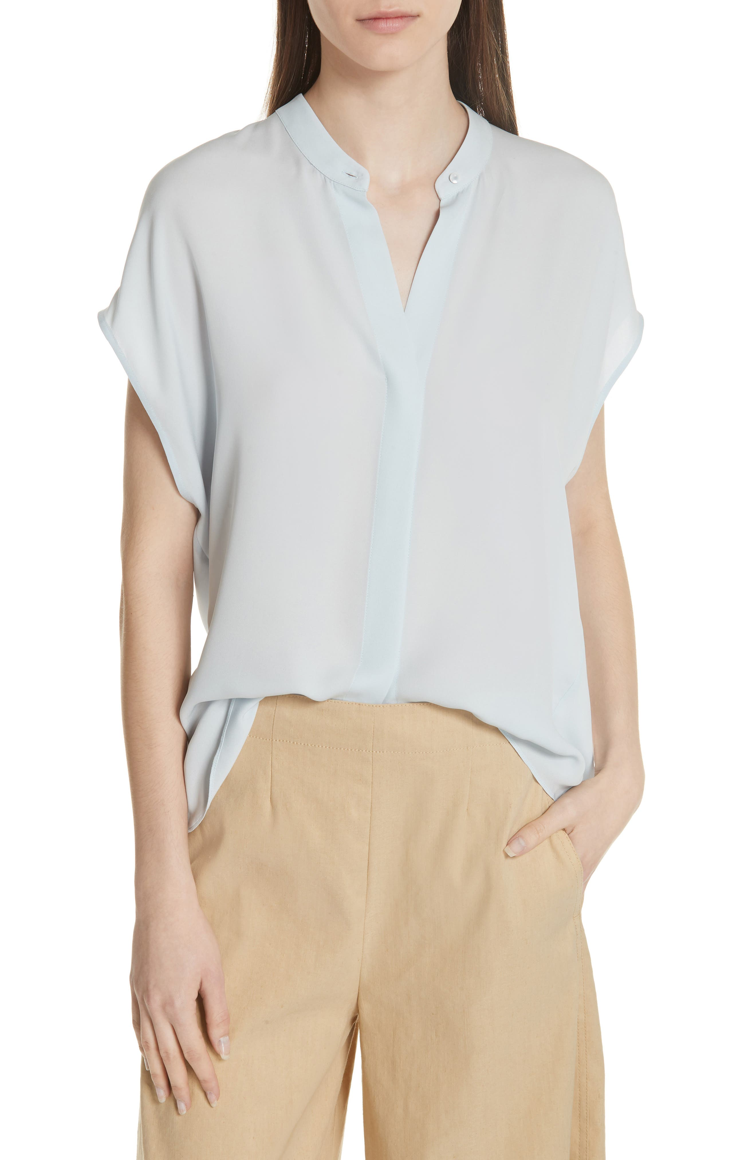 Back Slit Silk Top,                         Main,                         color, Ice