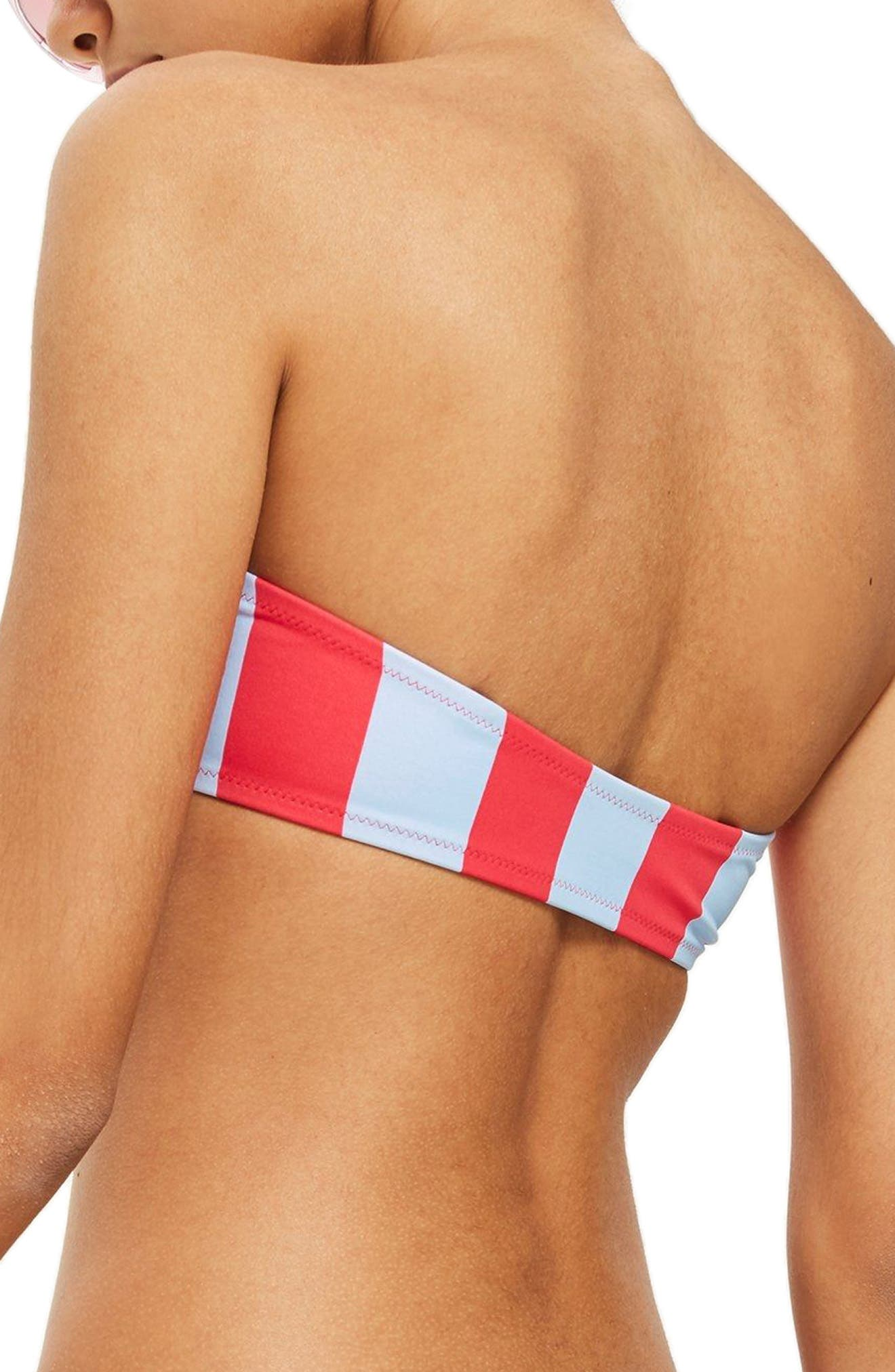 Stripe Bandeau Bikini Top,                             Alternate thumbnail 2, color,                             Red Multi