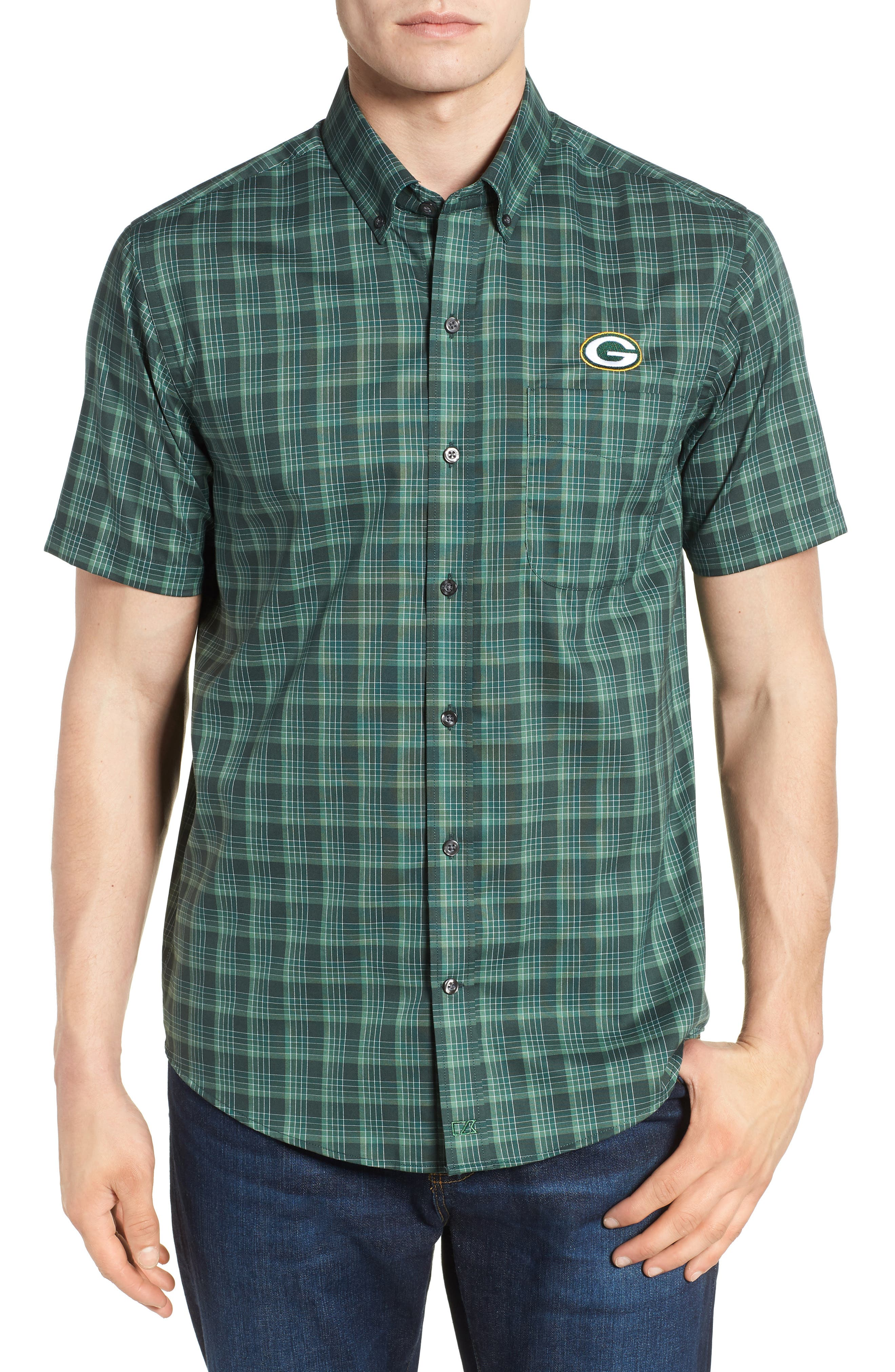 Manchester Great Sale For Sale Cutter & Buck Green Bay Packers - Fremont Regular Fit Check Sport Shirt Outlet Visit New bgNV88id