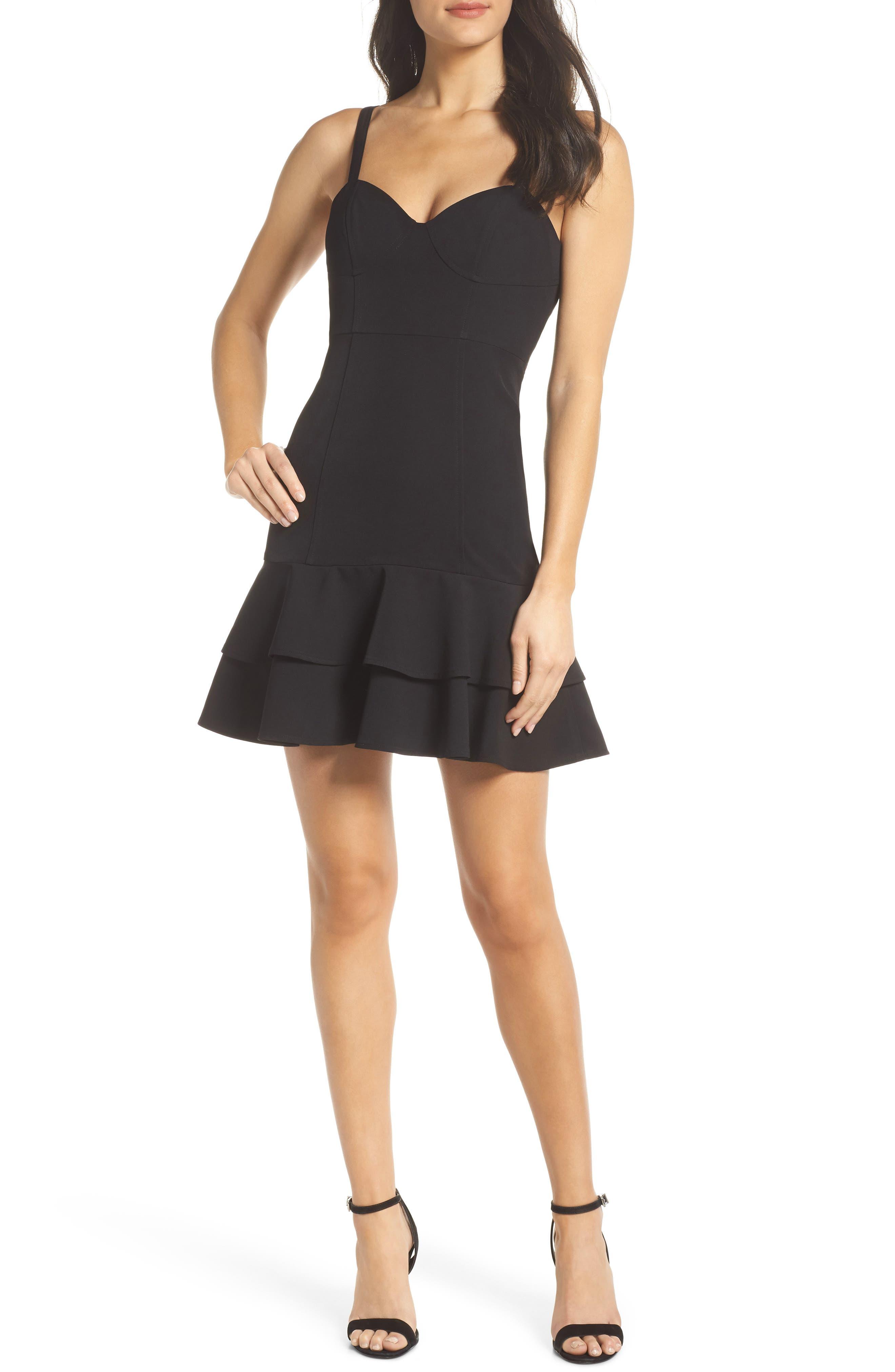 Bustier Ruffle Hem Dress,                             Main thumbnail 1, color,                             Black