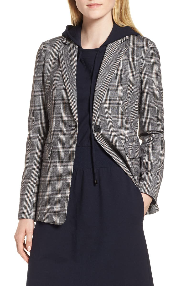Elbow Patch Plaid Stretch Wool Jacket