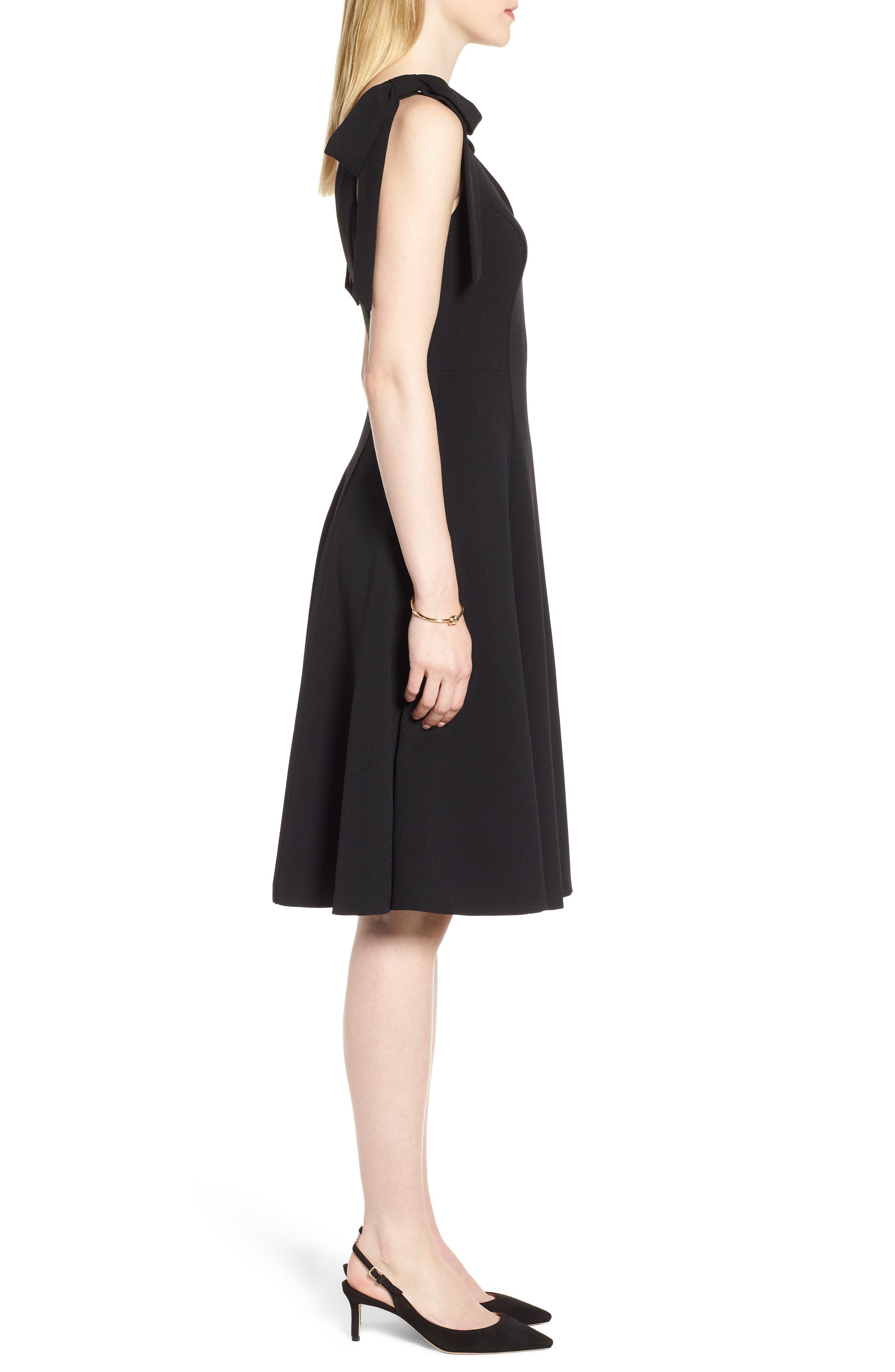Tie Shoulder Fit & Flare Dress,                             Alternate thumbnail 3, color,                             Black