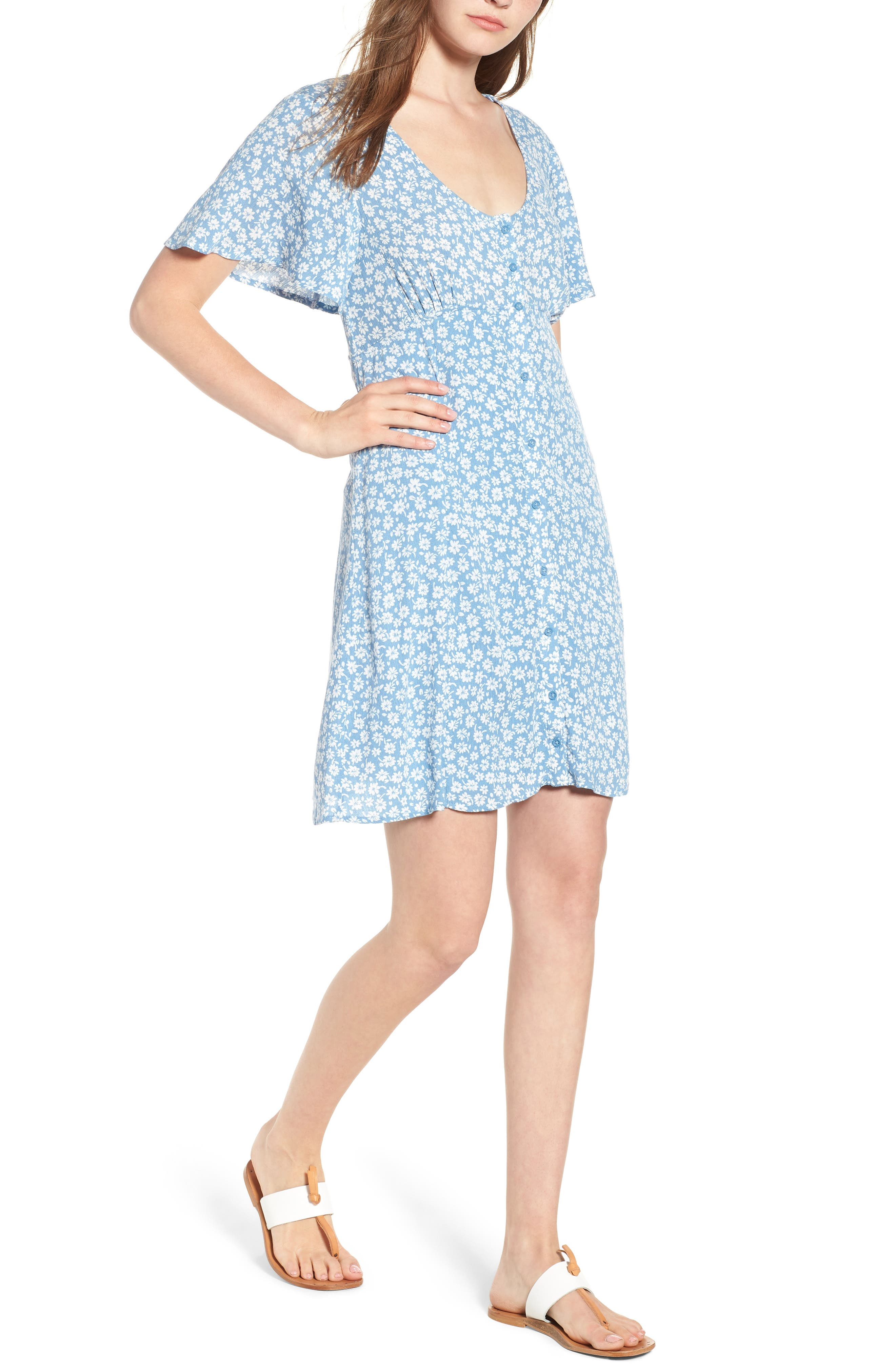 Floral Button Front Dress,                             Main thumbnail 1, color,                             Chambray