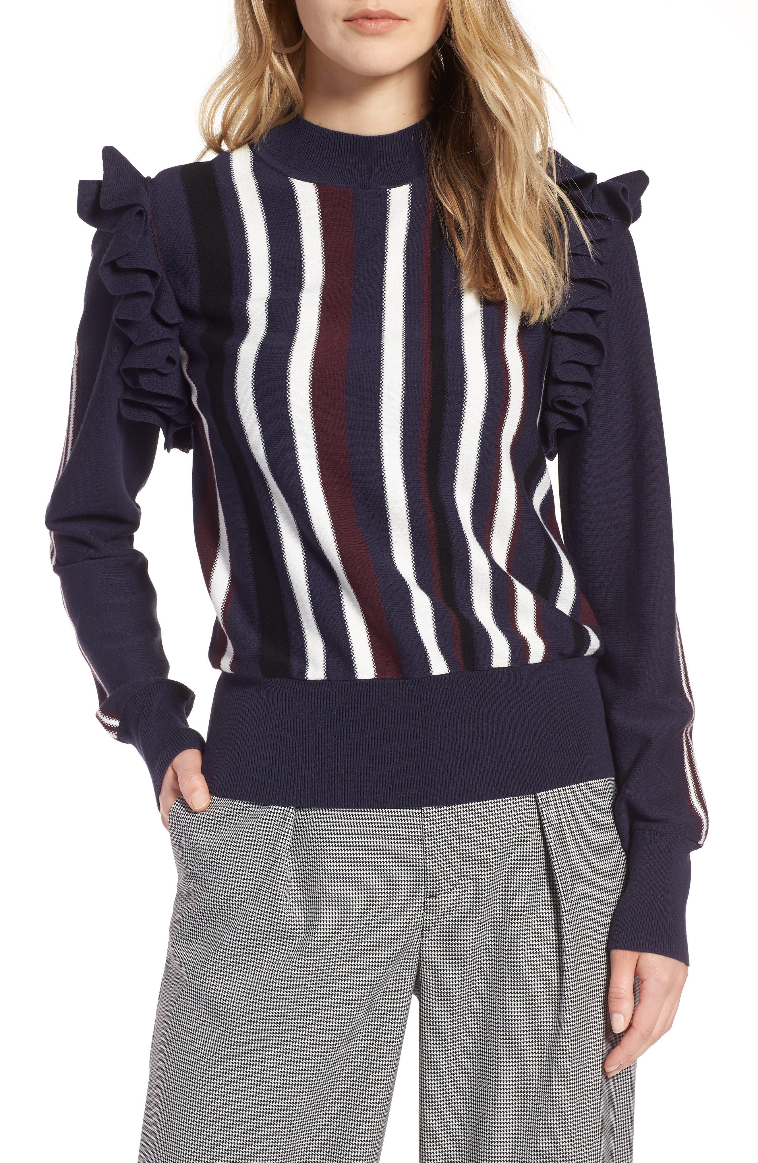 Detachable Sleeve Sweater,                         Main,                         color, Navy Stripe
