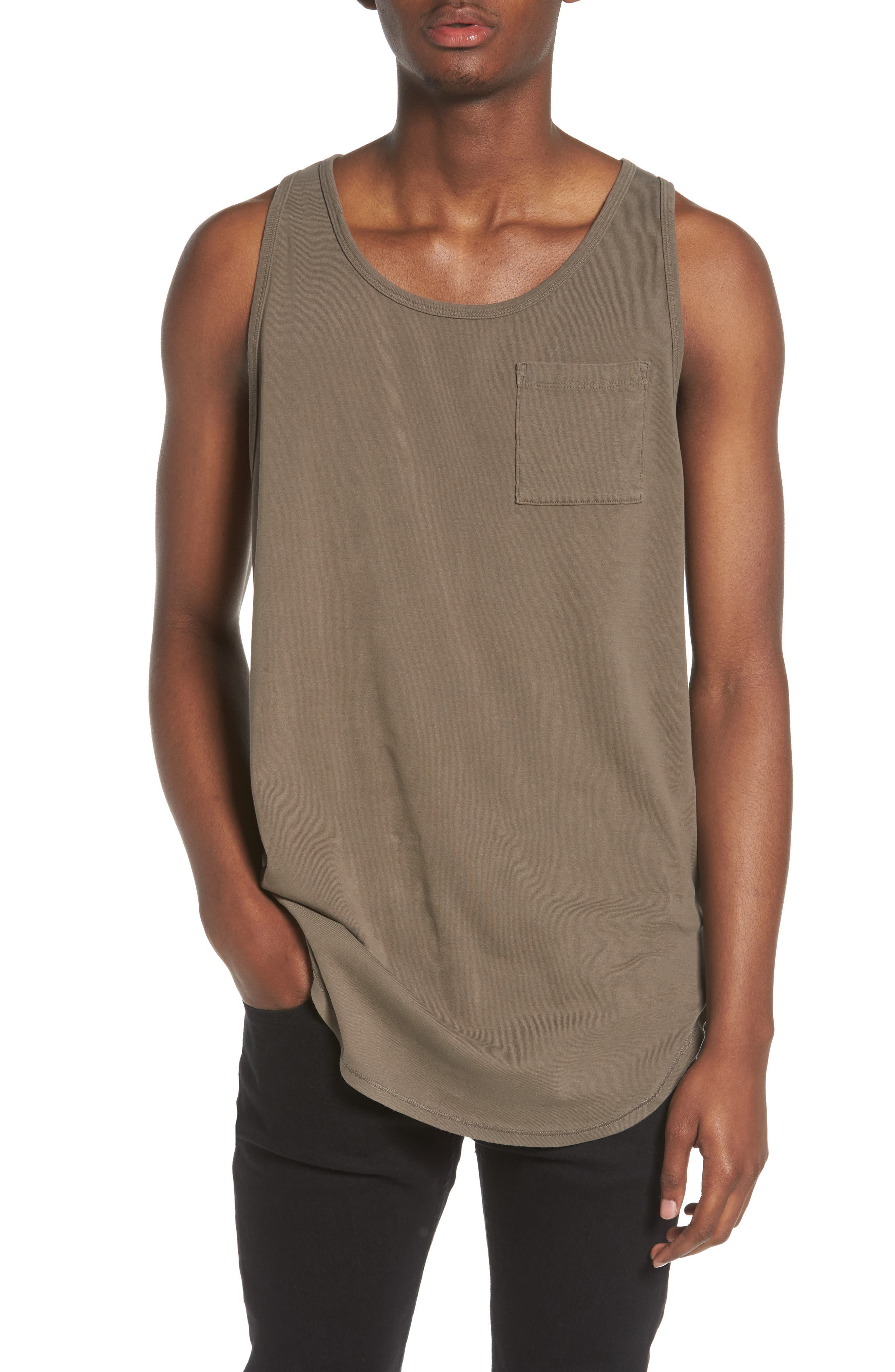 Longline Tank,                         Main,                         color, Olive Brown