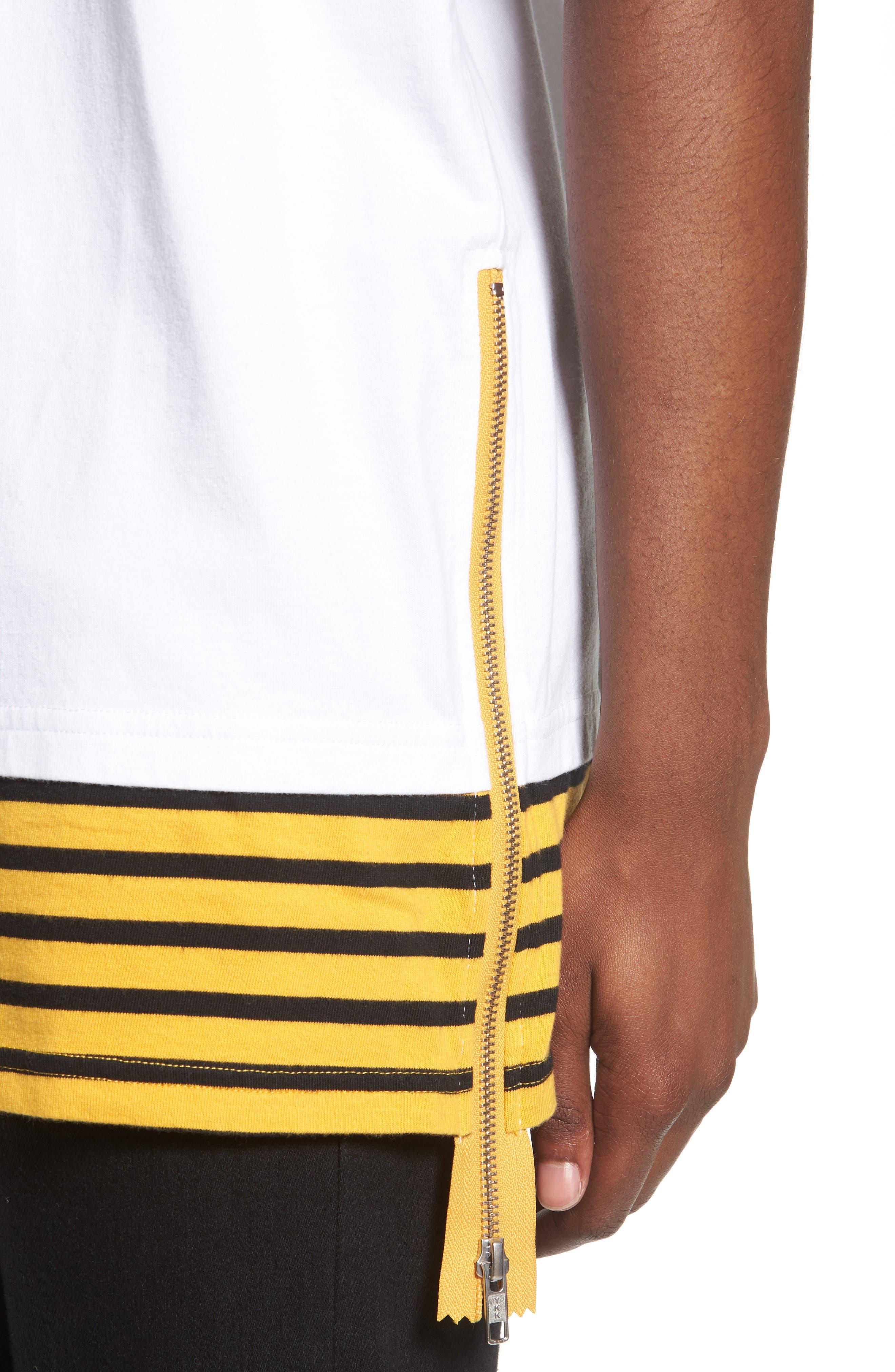 Elongated Stripe Side Zip T-Shirt,                             Alternate thumbnail 3, color,                             White