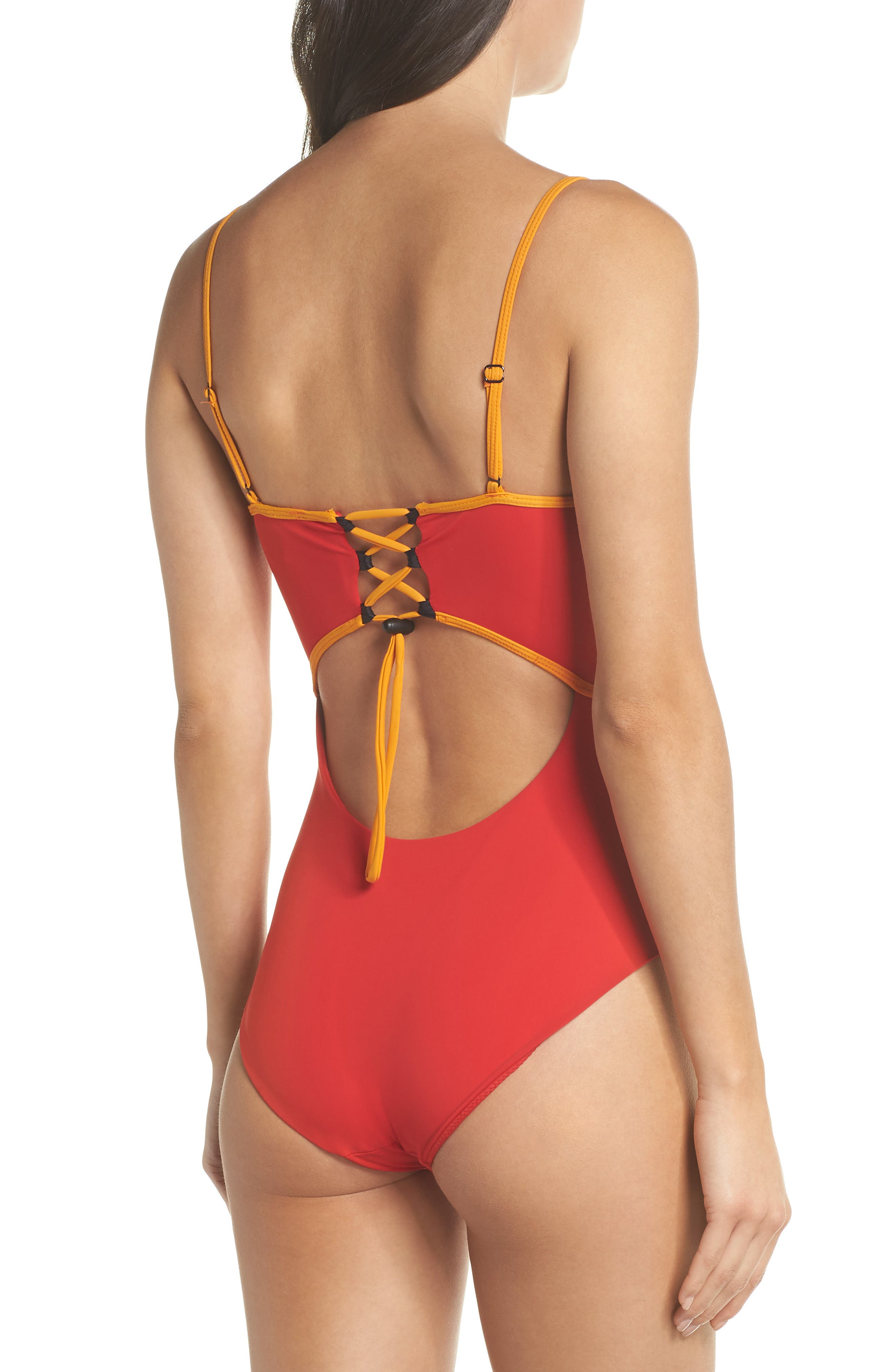 Barrel One-Piece Swimsuit,                             Alternate thumbnail 2, color,                             Red/ Orange