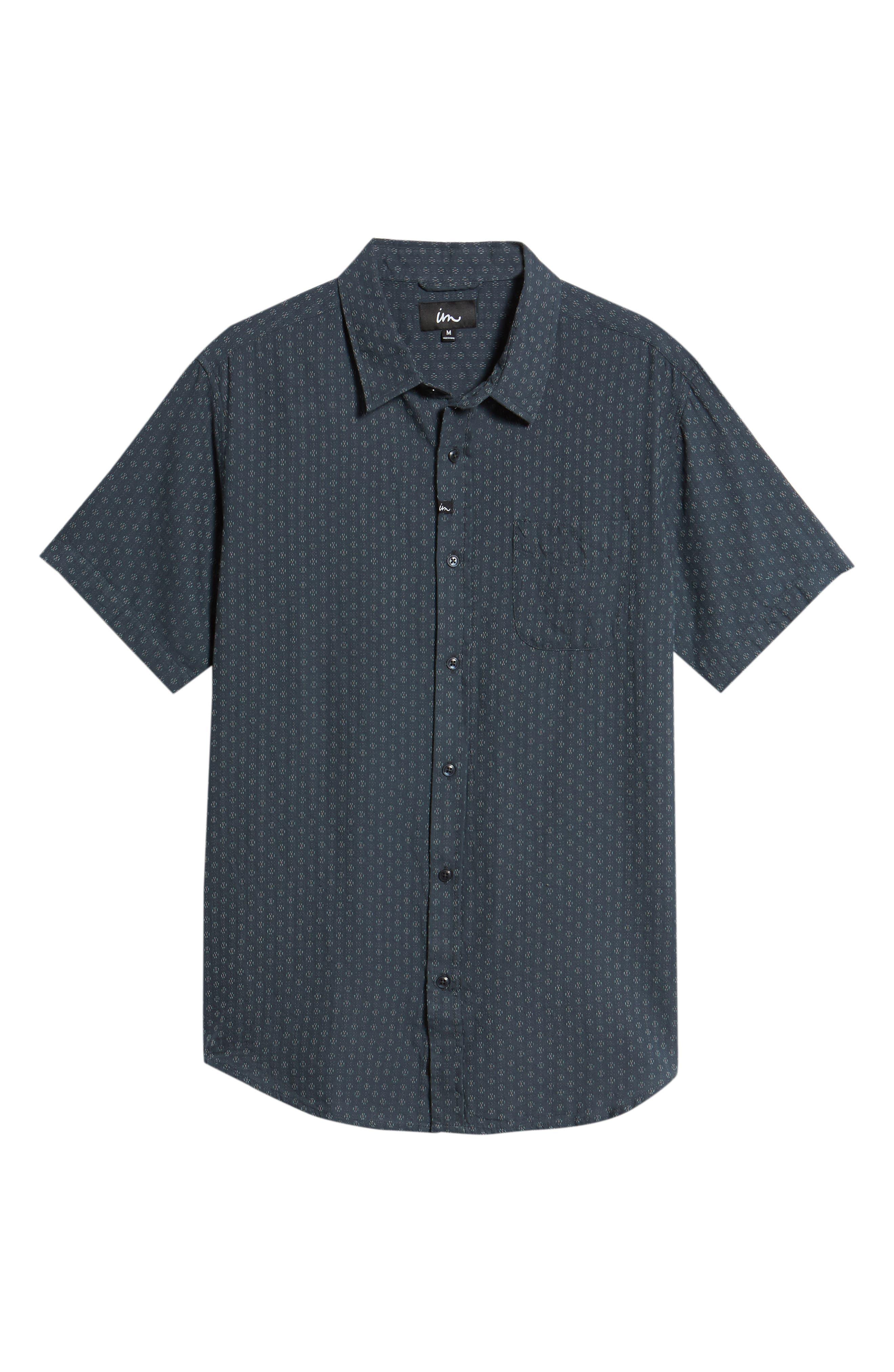 Circuit Woven Shirt,                             Alternate thumbnail 6, color,                             Dark Teal
