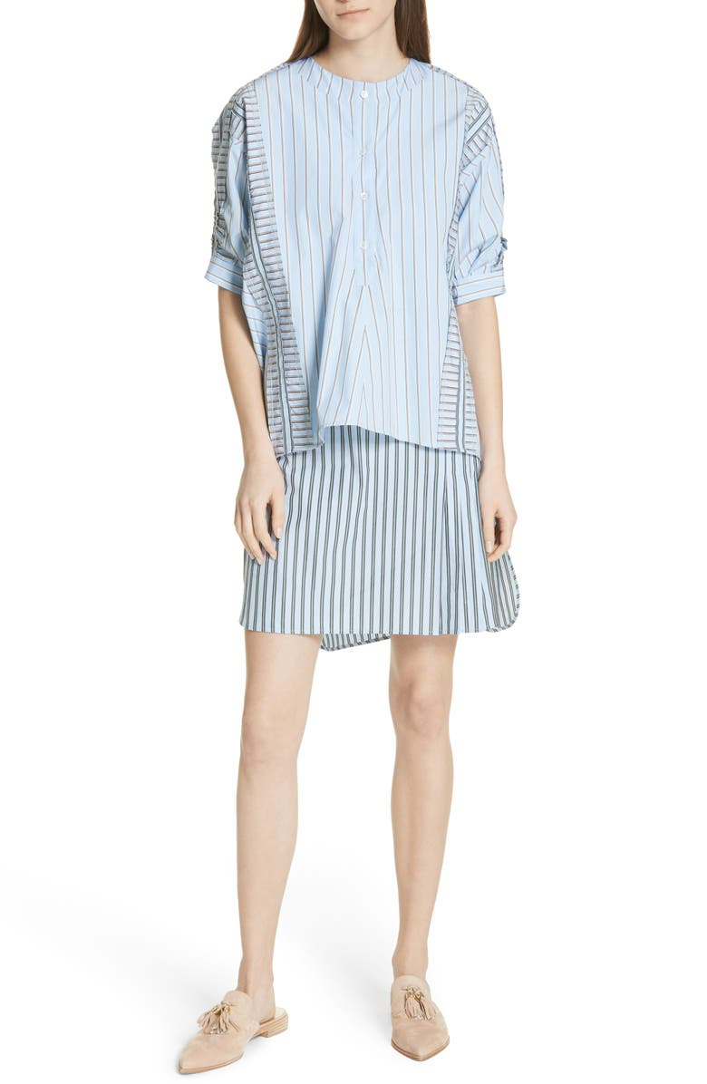 Layered Ruffle Trim Shirtdress