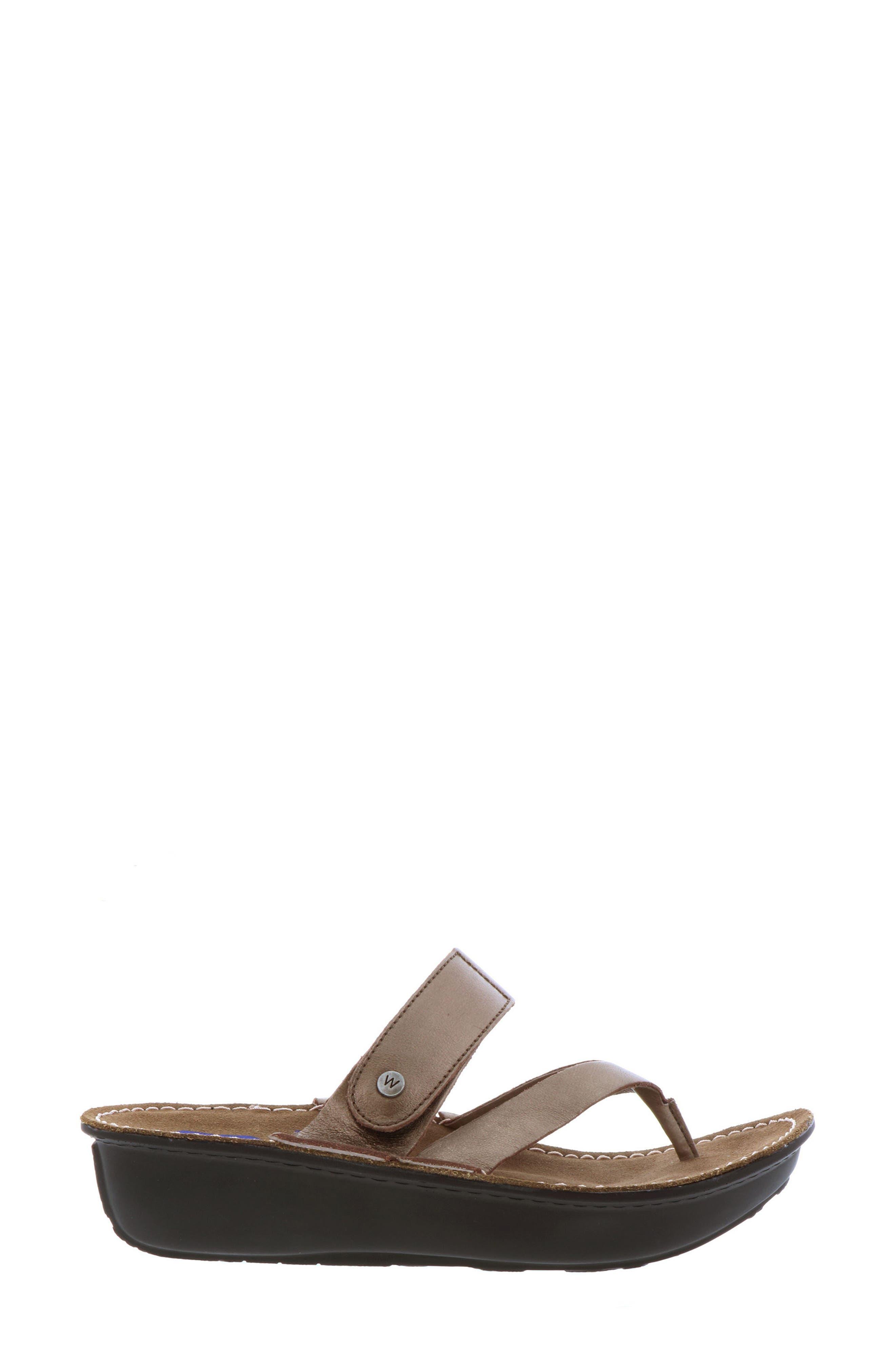 Tahiti Platform Sandal,                             Alternate thumbnail 3, color,                             Bronze Metallic