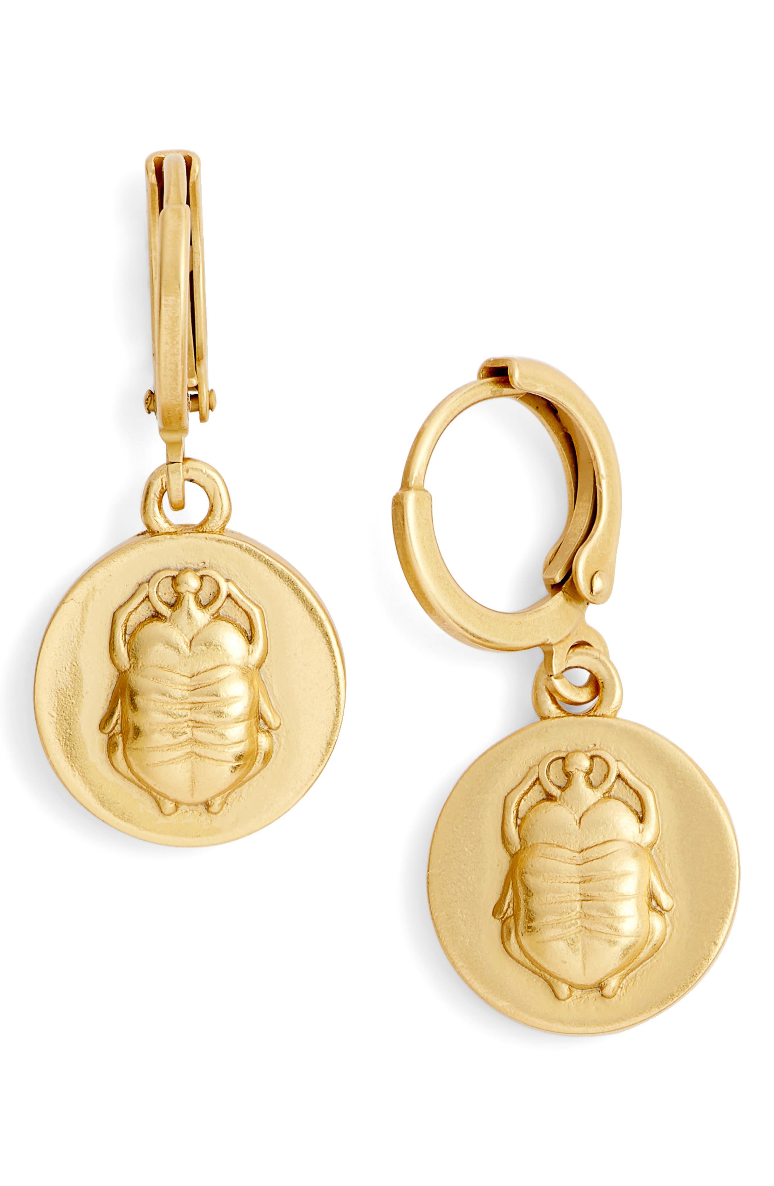 Scarab Charm Museum Drop Earrings,                             Main thumbnail 1, color,                             Gold