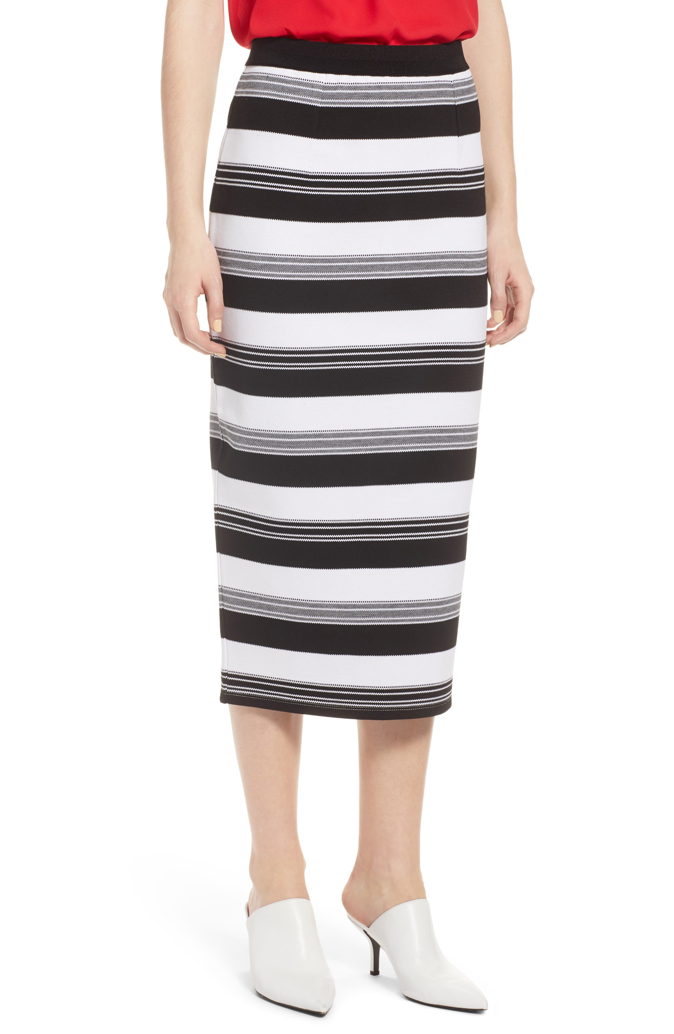 Knit Pencil Skirt,                         Main,                         color, Black- Ivory Stripe