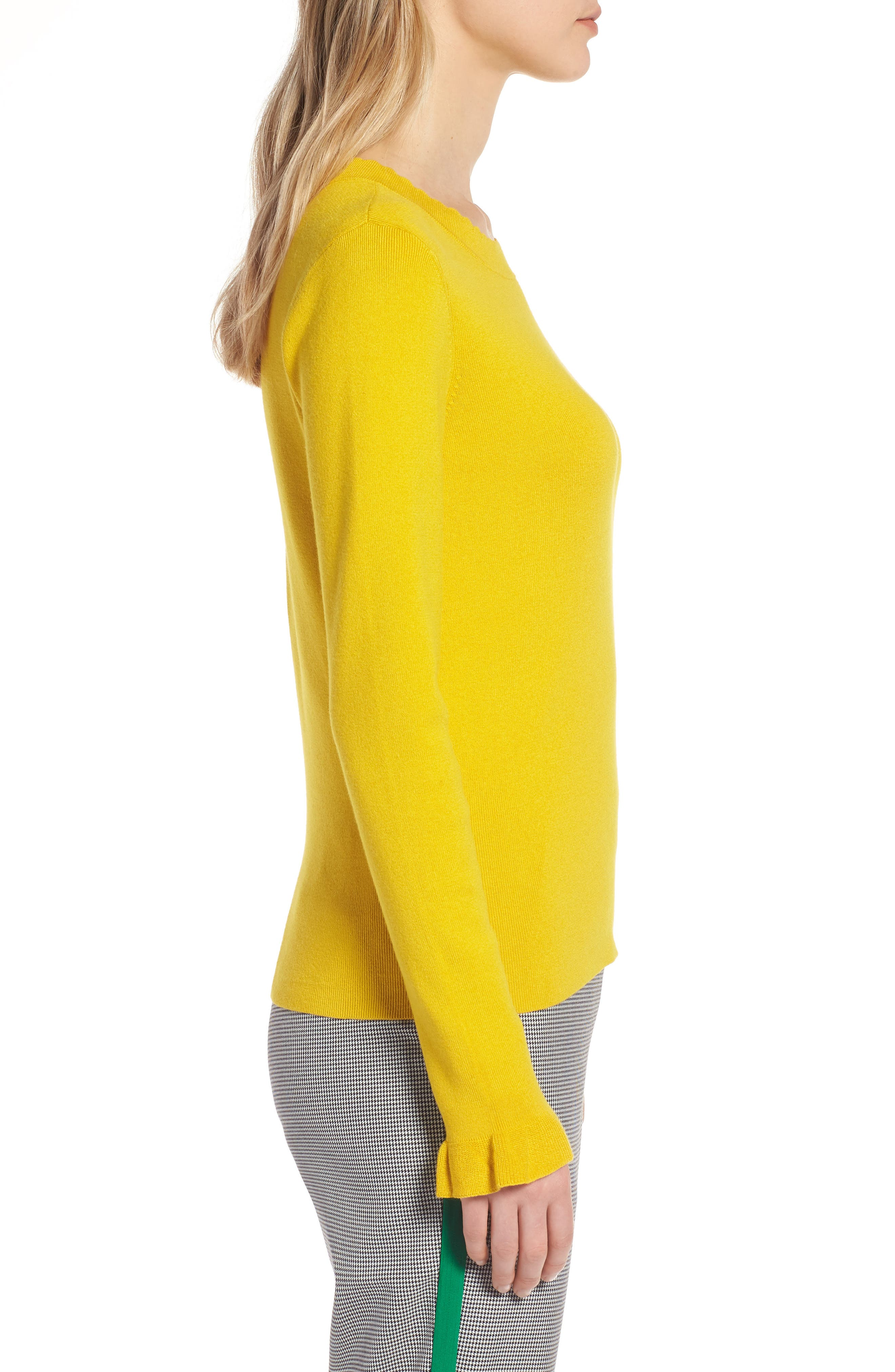 Scallop Trim Sweater,                             Alternate thumbnail 3, color,                             Yellow Sulphur