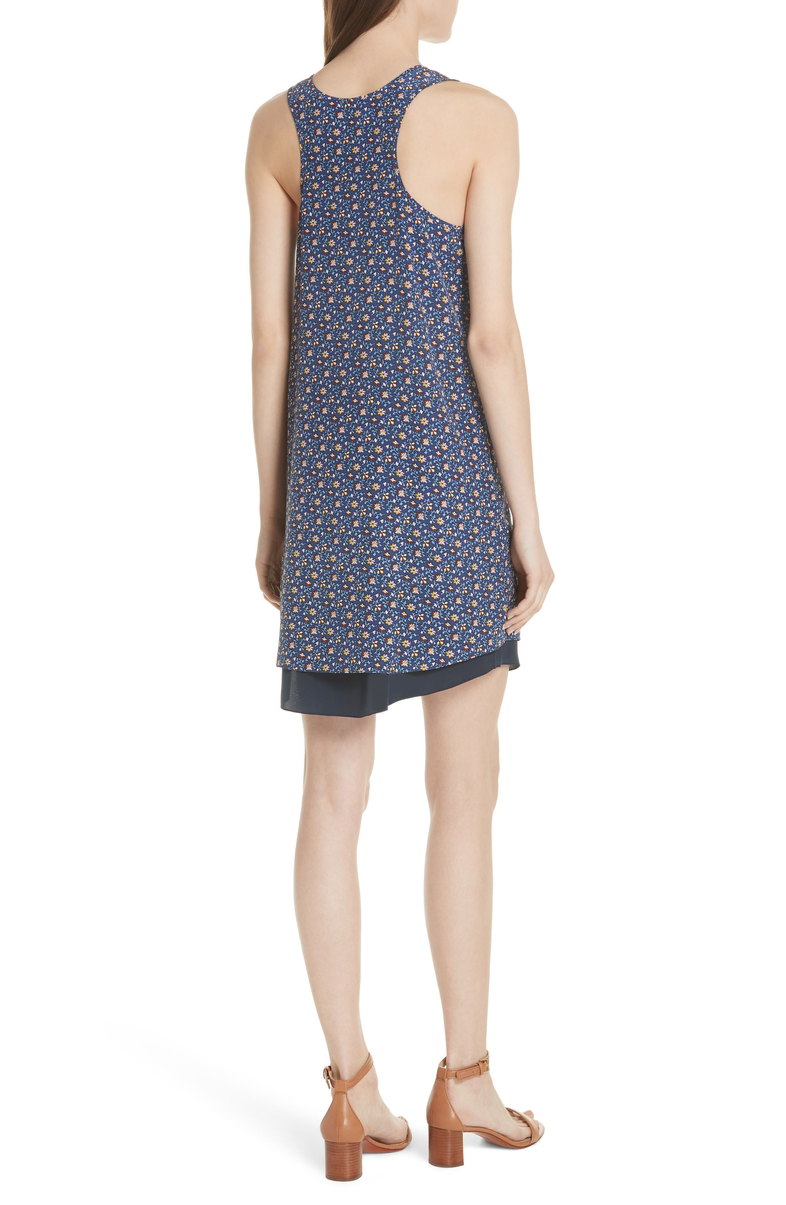 Sydney Sleeveless Silk Dress,                             Alternate thumbnail 2, color,                             Blue Wild Pansy