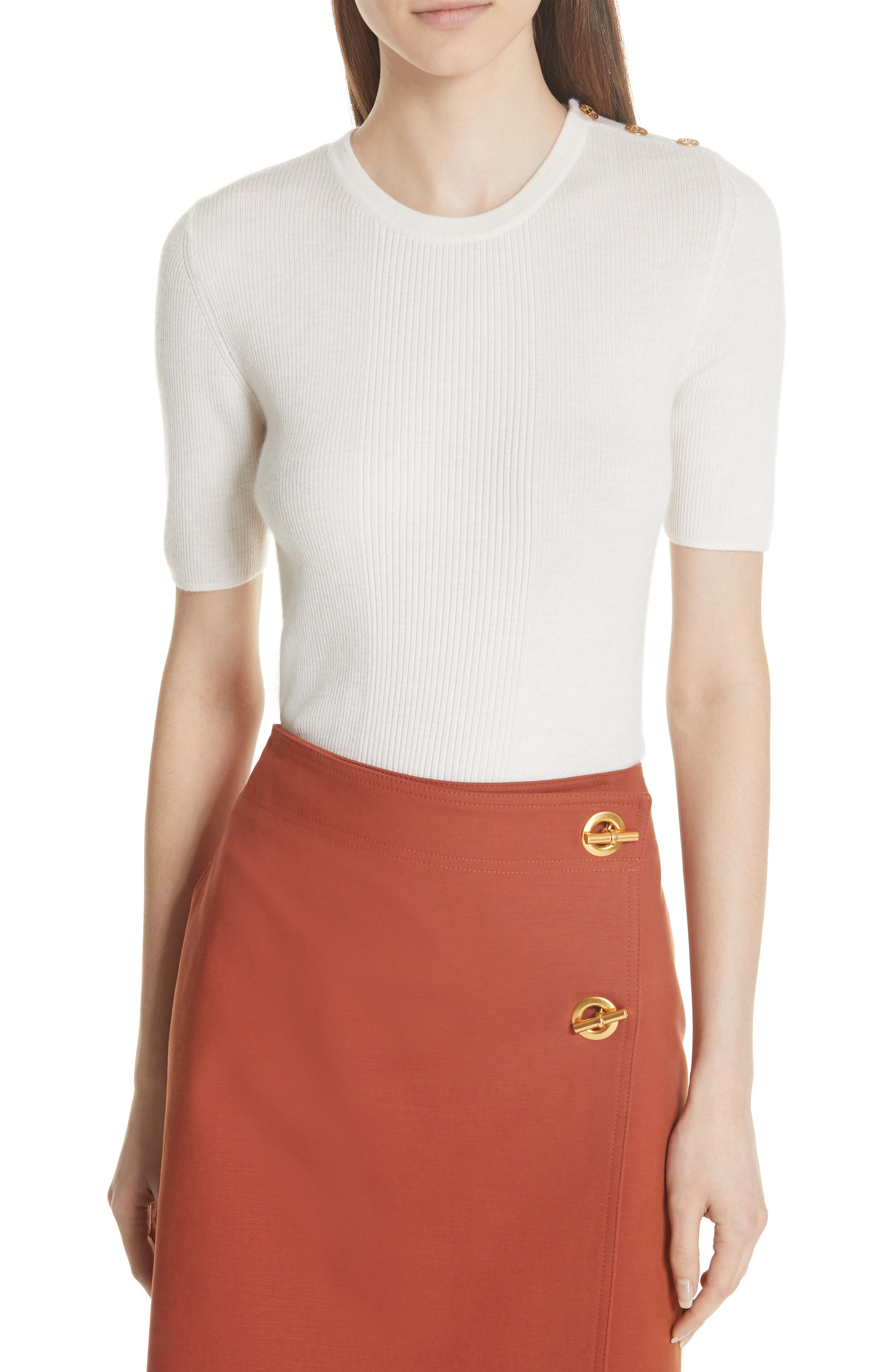 Taylor Ribbed Cashmere Sweater,                             Main thumbnail 1, color,                             New Ivory