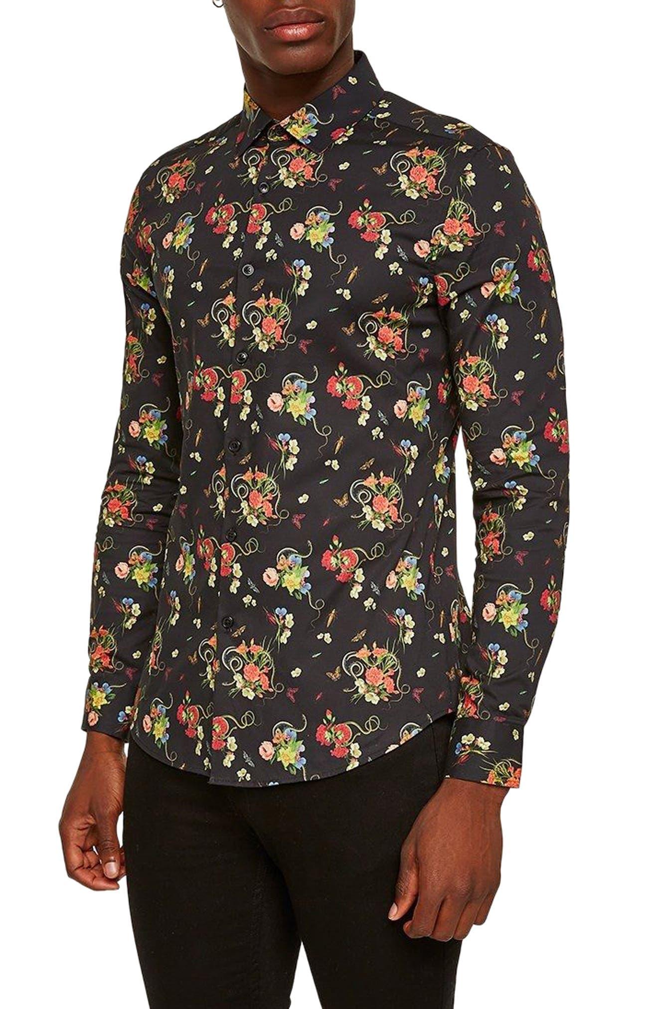 Snake Floral Print Shirt,                             Main thumbnail 1, color,                             Black Multi