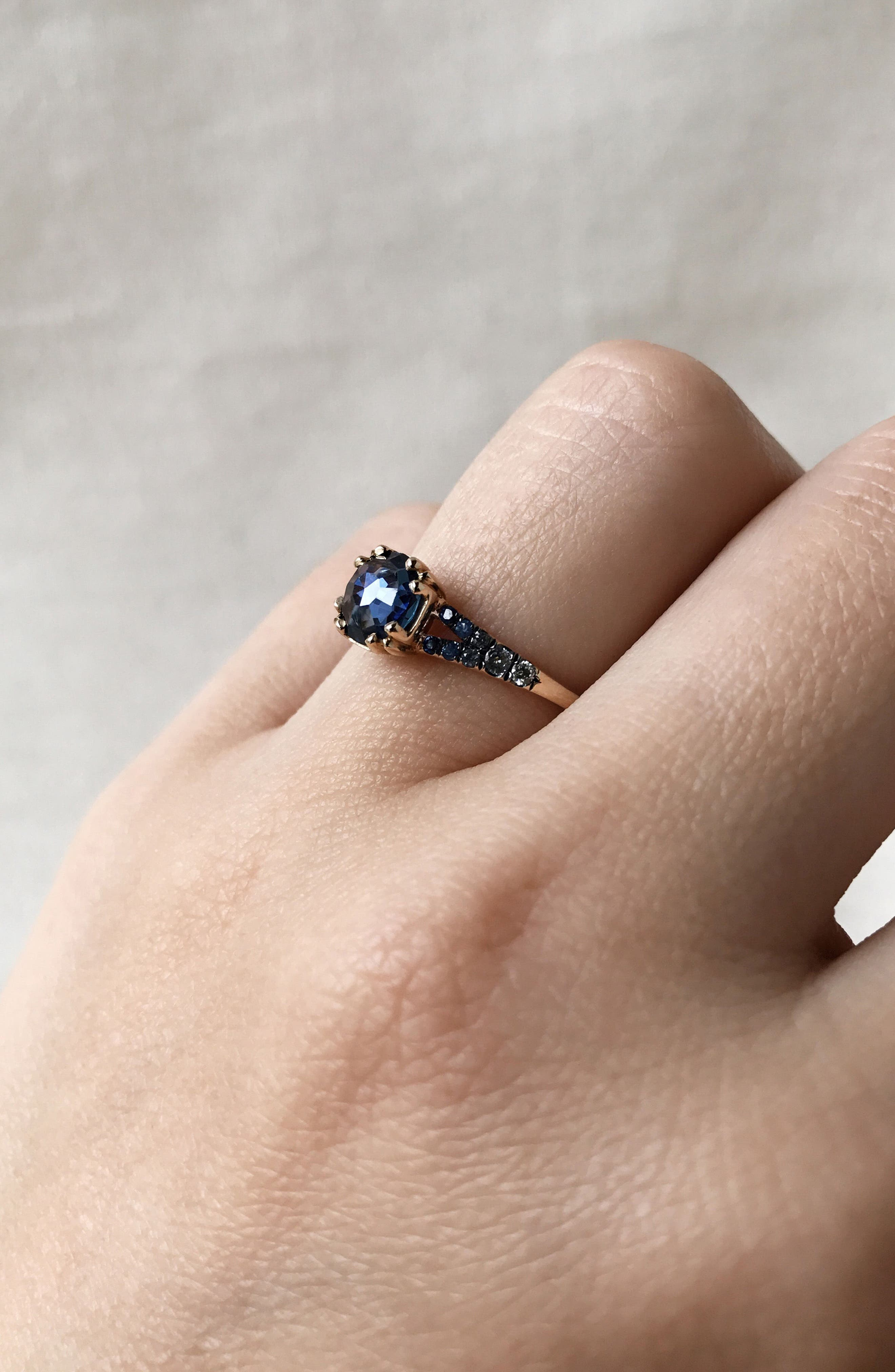 Devotion Gradient Sapphire Solitaire Ring,                             Alternate thumbnail 2, color,                             Blue Sapphire