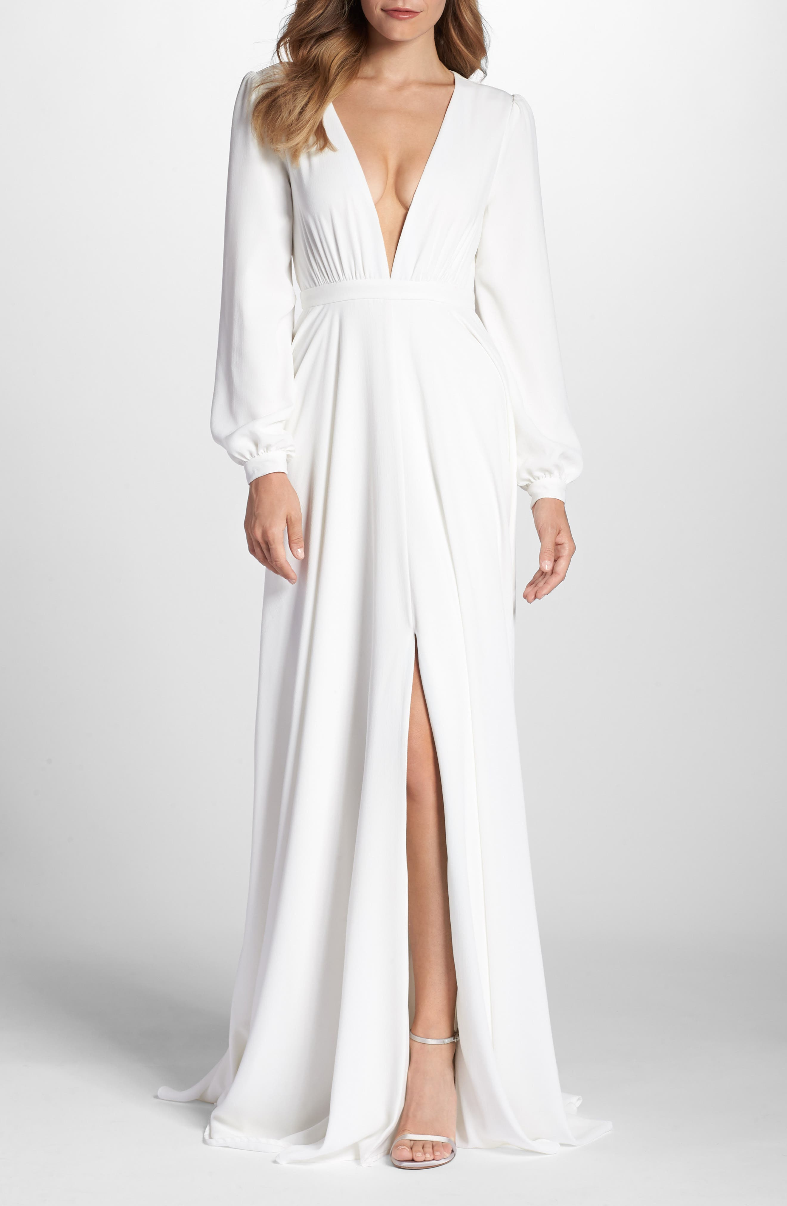 Floyd V-Neck Long Sleeve Gown,                             Main thumbnail 1, color,                             White