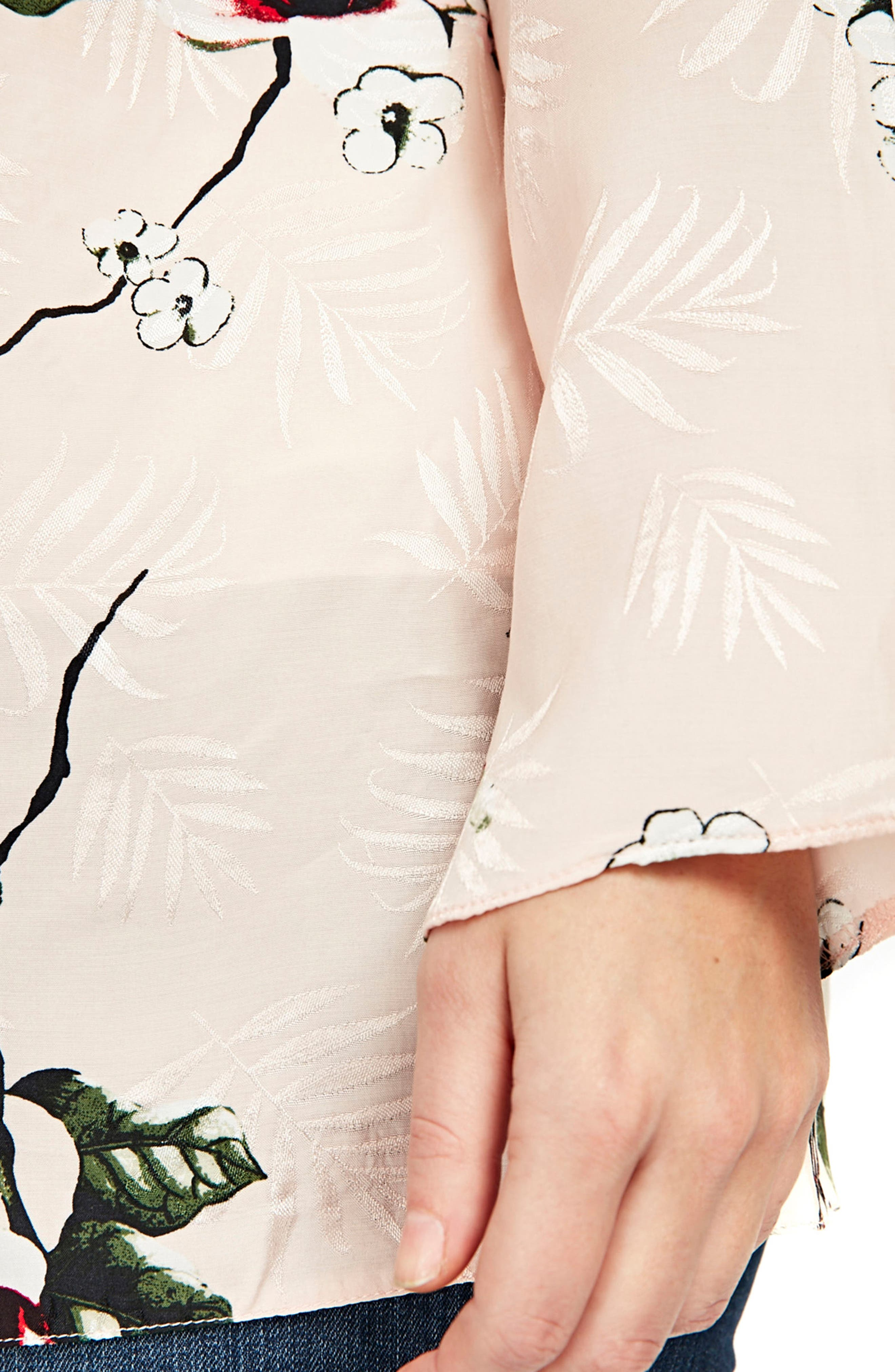 Blush Floral Kimono Jacket,                             Alternate thumbnail 2, color,                             Blush