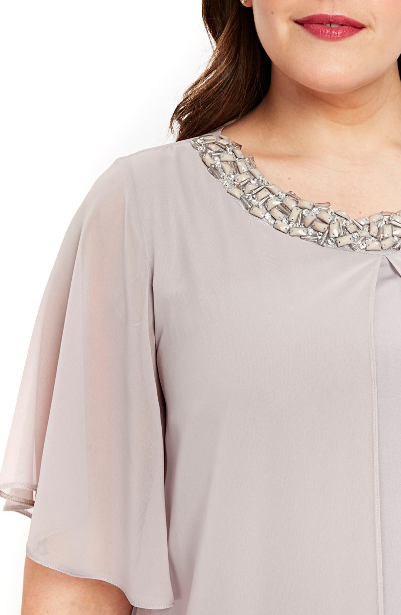 Embellished Neck Split Overlay Shift Dress,                             Alternate thumbnail 3, color,                             Dark Multi