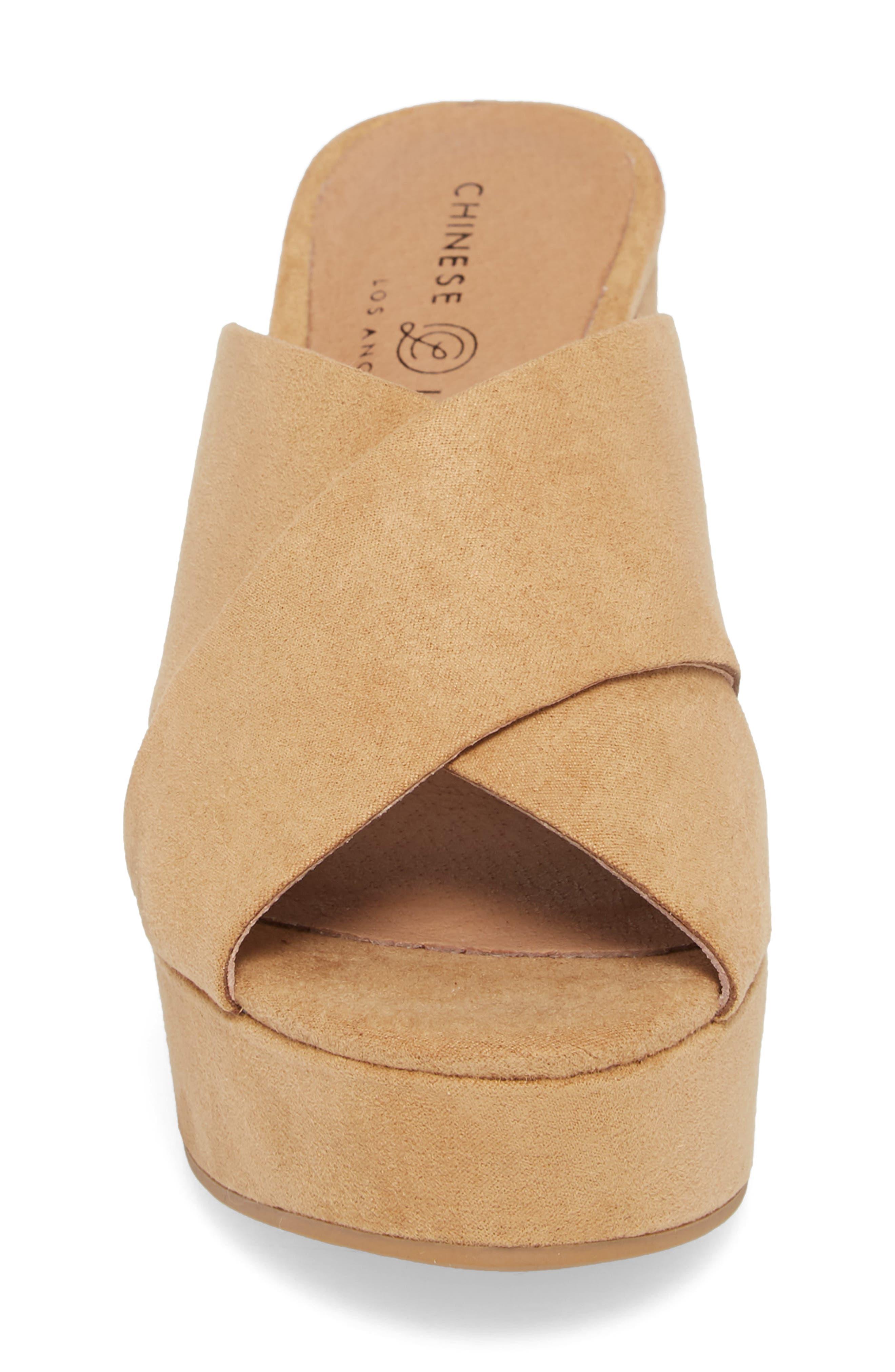 Teagan Cross Strap Platform Sandal,                             Alternate thumbnail 4, color,                             Camel