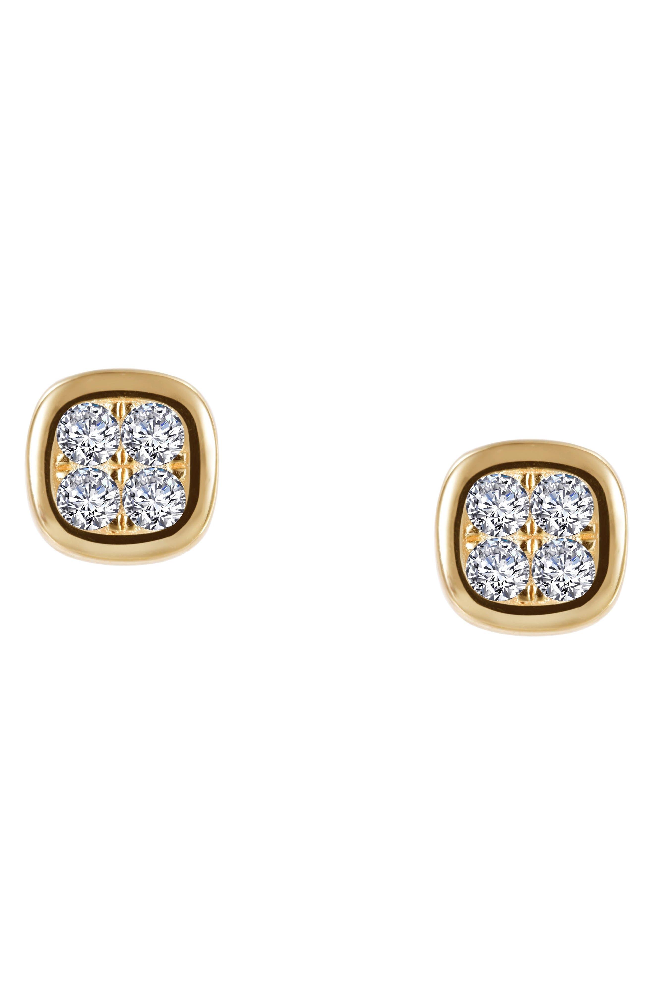 Bezel Stud Earrings,                         Main,                         color, Silver/ Gold/ Clear