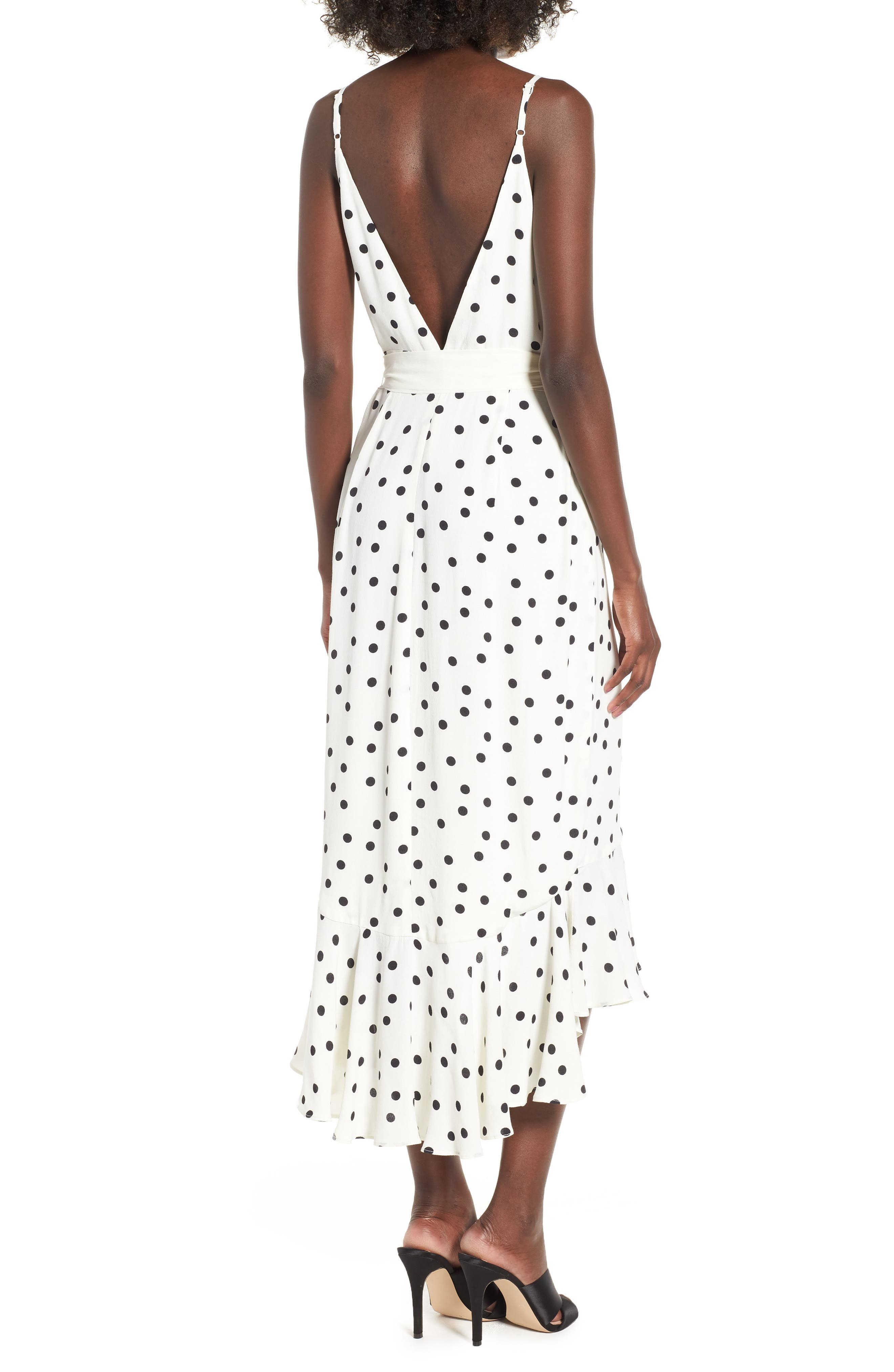 Bridget Midi Dress,                             Alternate thumbnail 2, color,                             Ivory/ Black