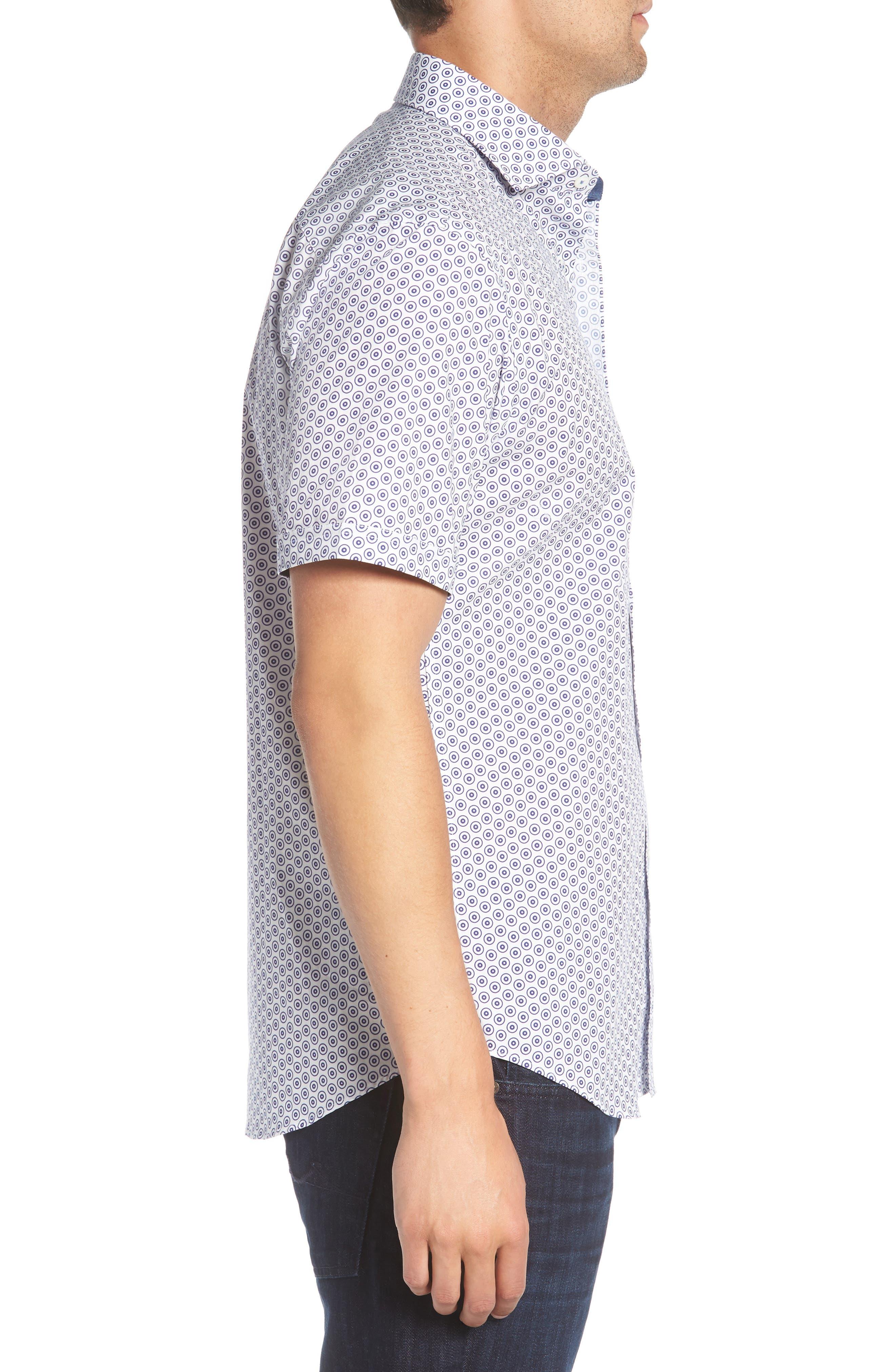 Shaped Fit Dot Circle Print Sport Shirt,                             Alternate thumbnail 3, color,                             White
