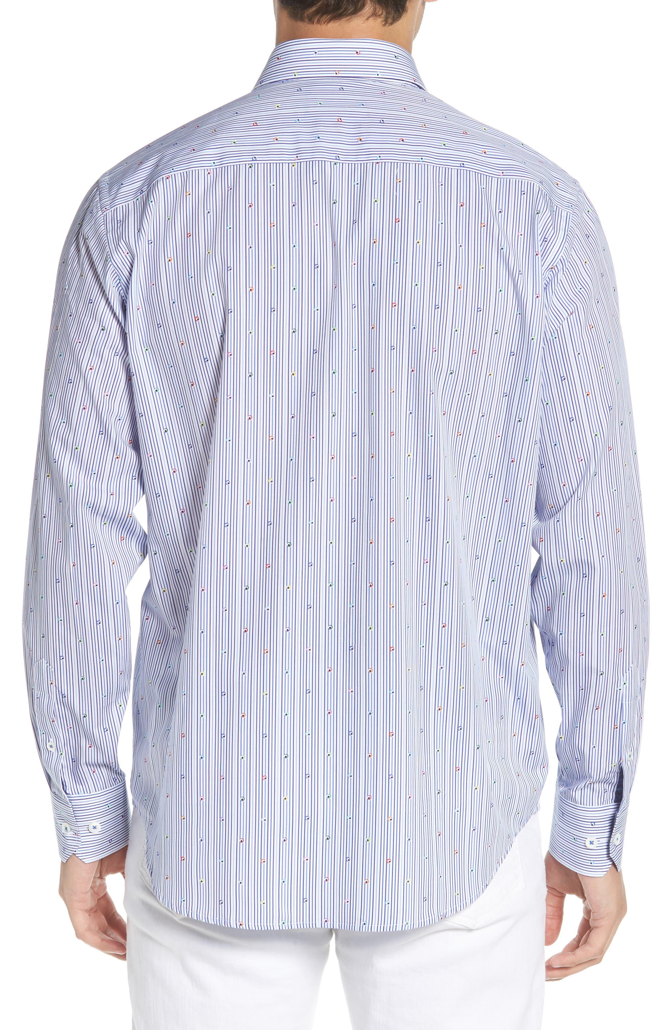 Classic Fit Stripe Sport Shirt,                             Alternate thumbnail 3, color,                             Navy
