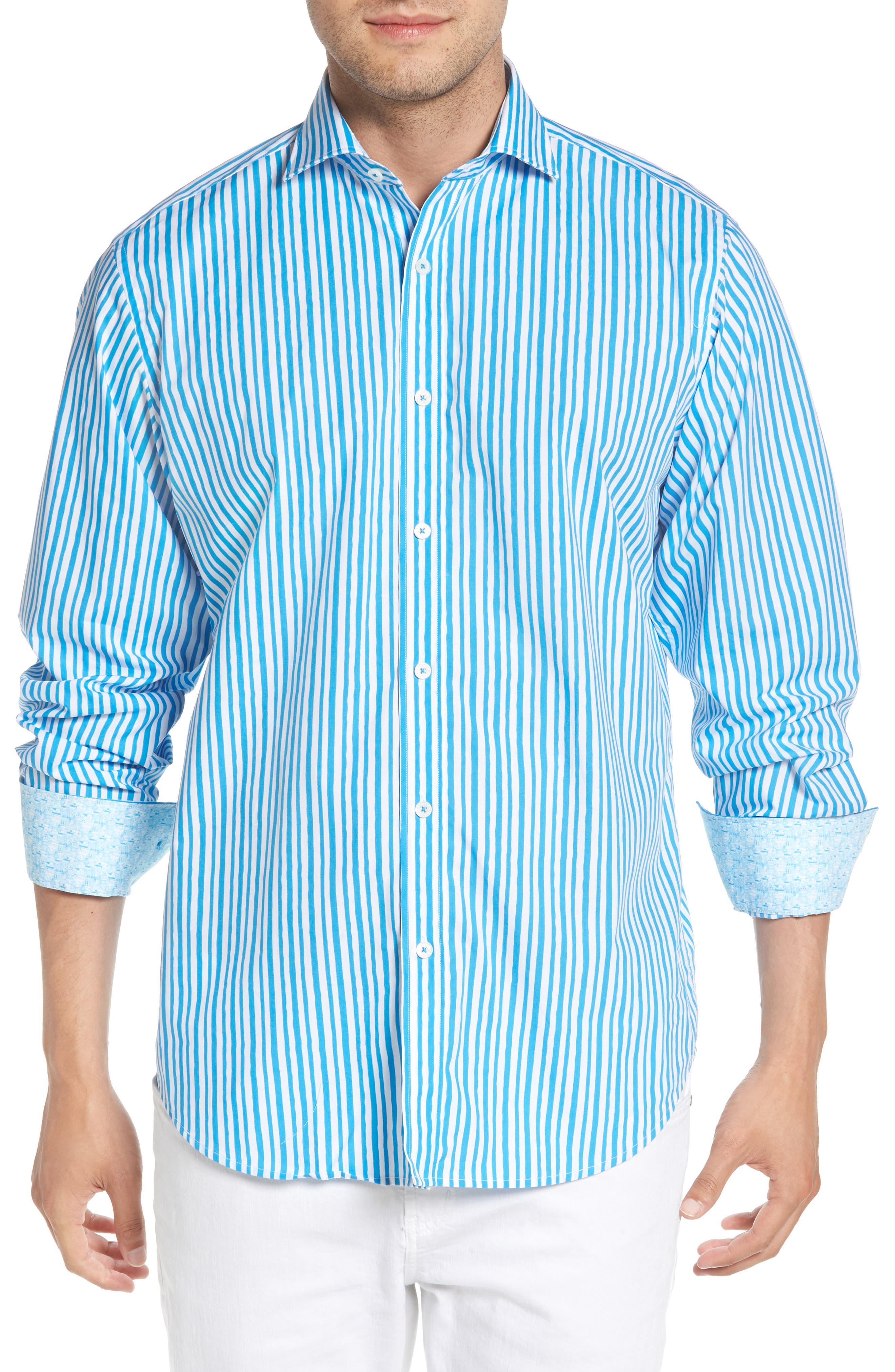 Classic Fit Wavy Stripe Sport Shirt,                         Main,                         color, Turquoise
