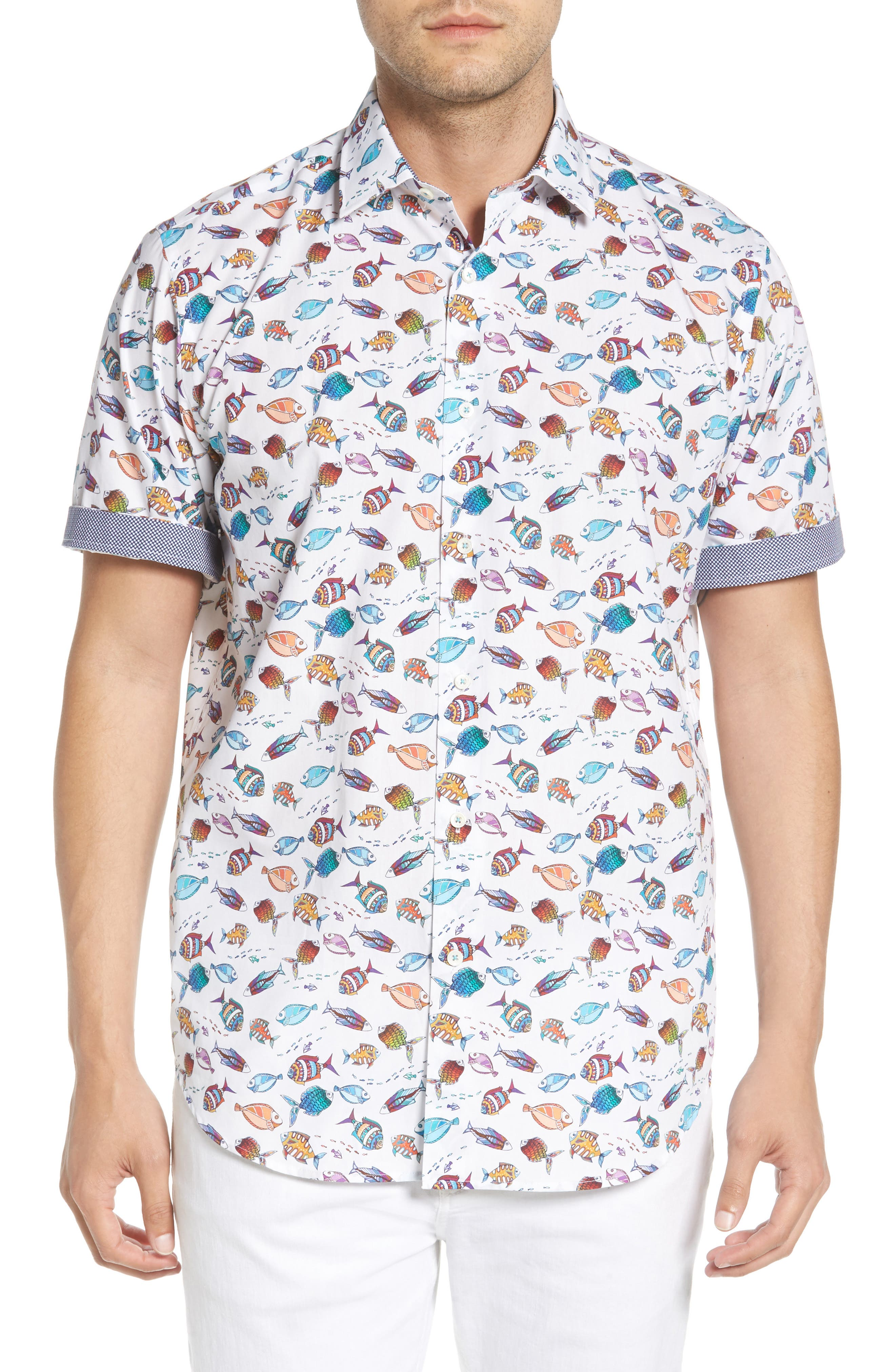 Classic Fit Fish Print Sport Shirt,                             Alternate thumbnail 2, color,                             Seafoam