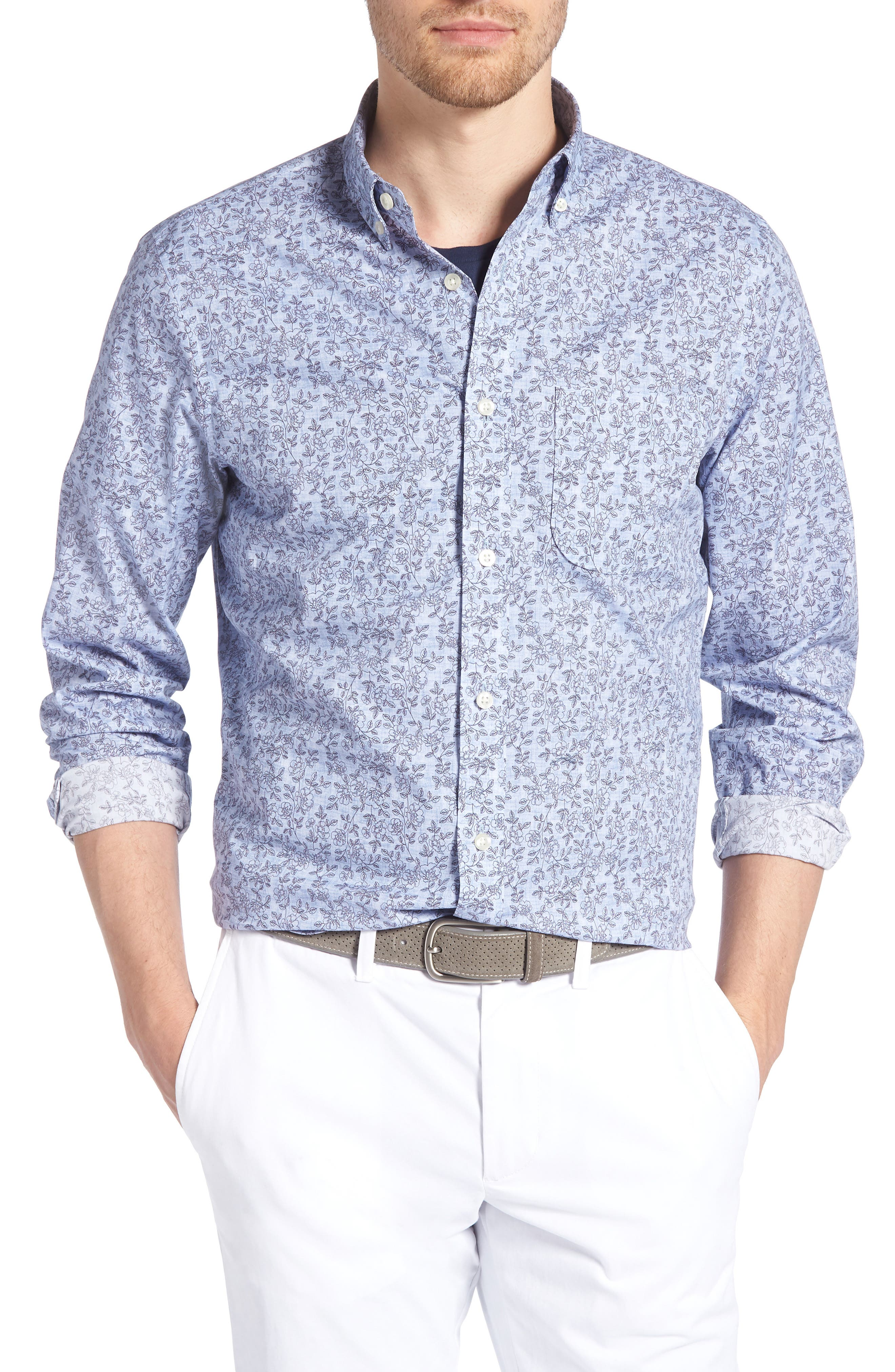 Trim Fit Chambray Floral Print Sport Shirt,                         Main,                         color, Chambray Flower Print