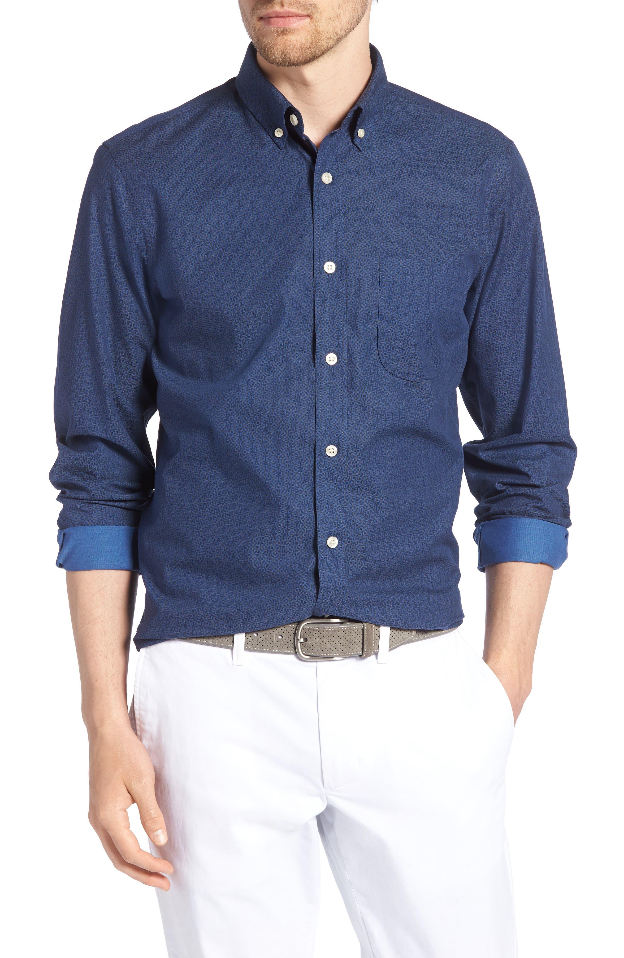 Trim Fit Round Pocket Sport Shirt,                             Main thumbnail 1, color,                             Blue Black Flower Print