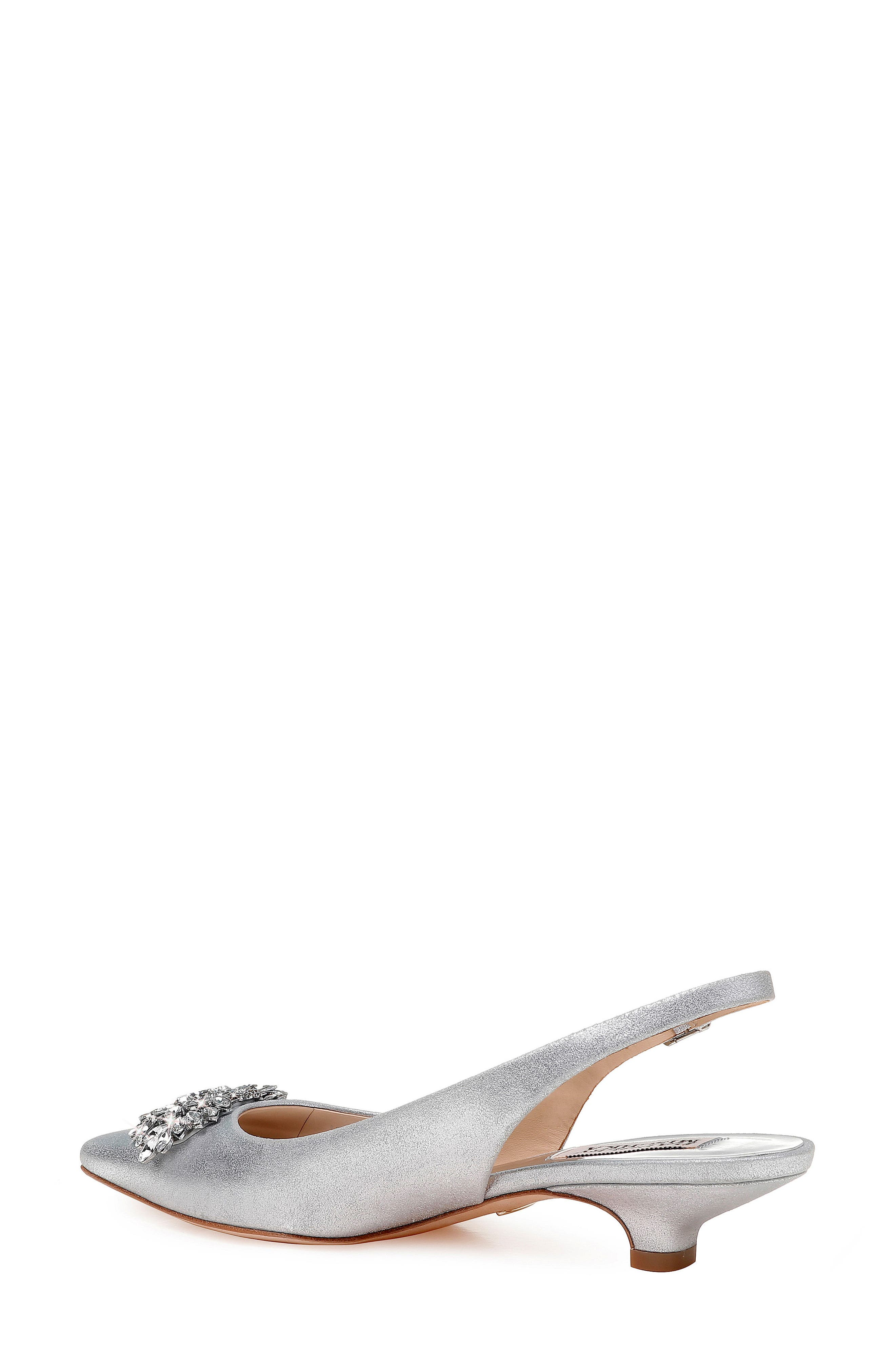 Page Slingback Pump,                             Alternate thumbnail 2, color,                             Silver Metallic Suede