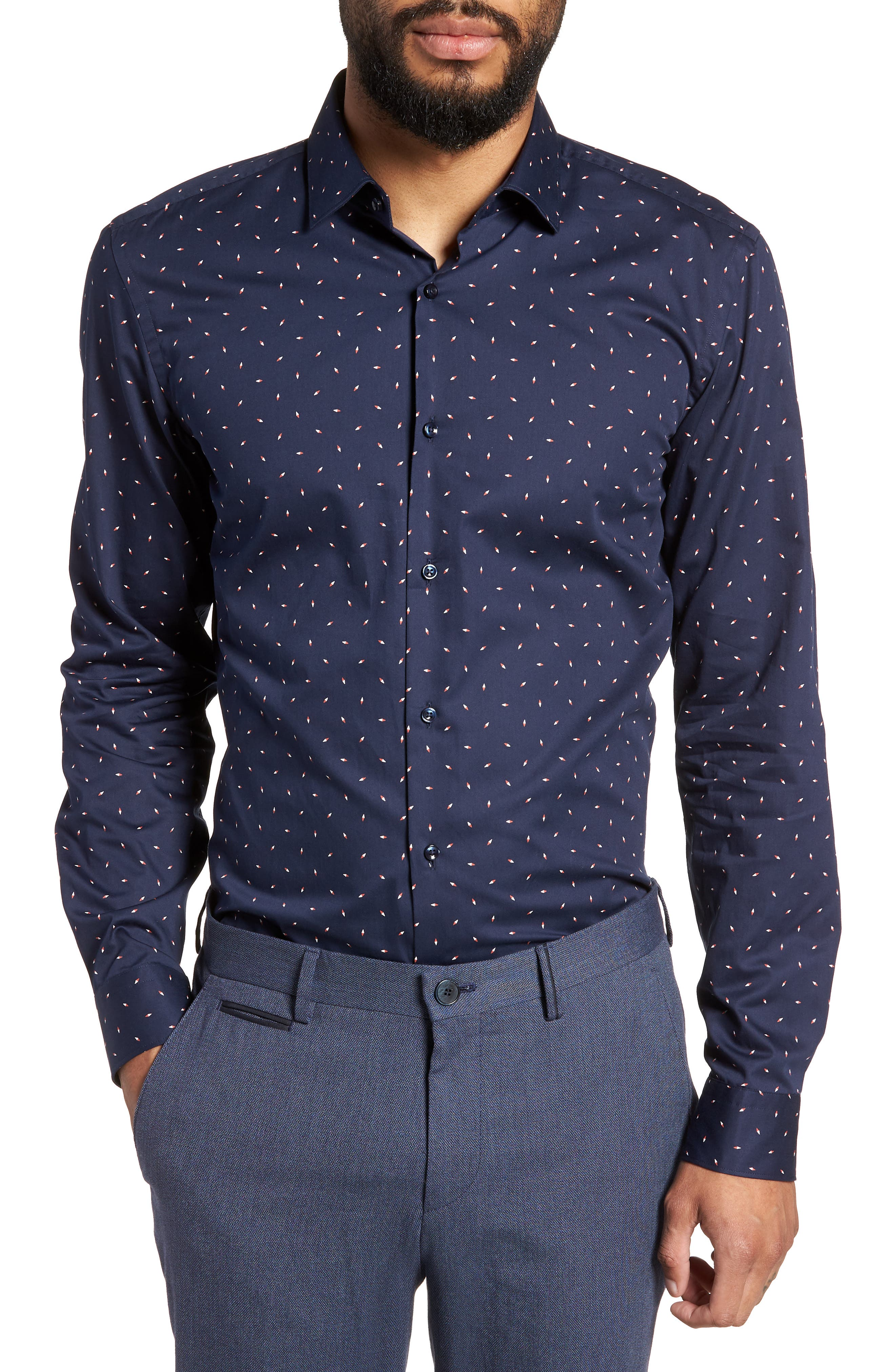 Ismo Slim Fit Print Dress Shirt,                         Main,                         color, Navy