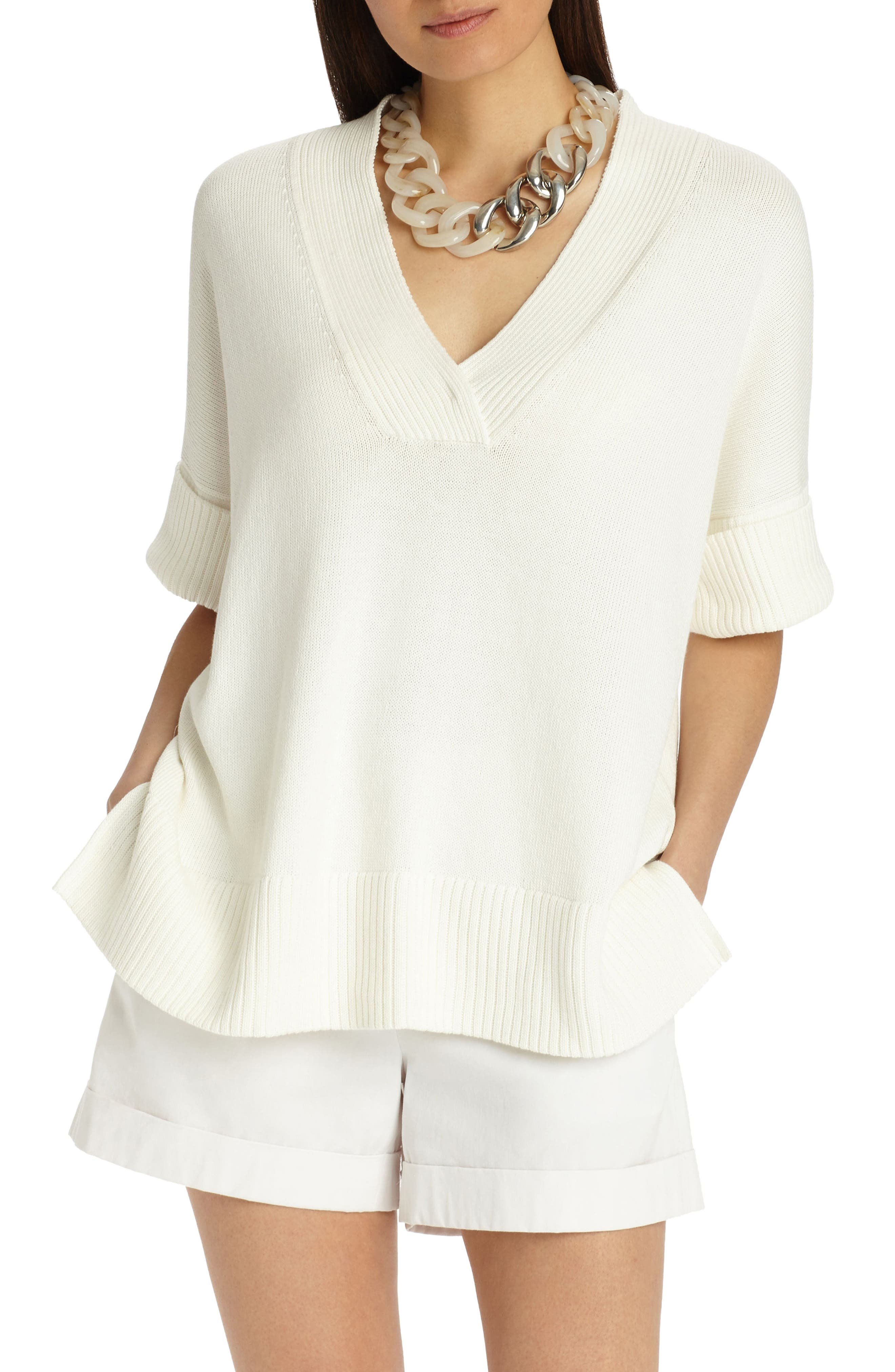 Relaxed V-Neck Cotton & Silk Sweater,                             Main thumbnail 1, color,                             Cloud