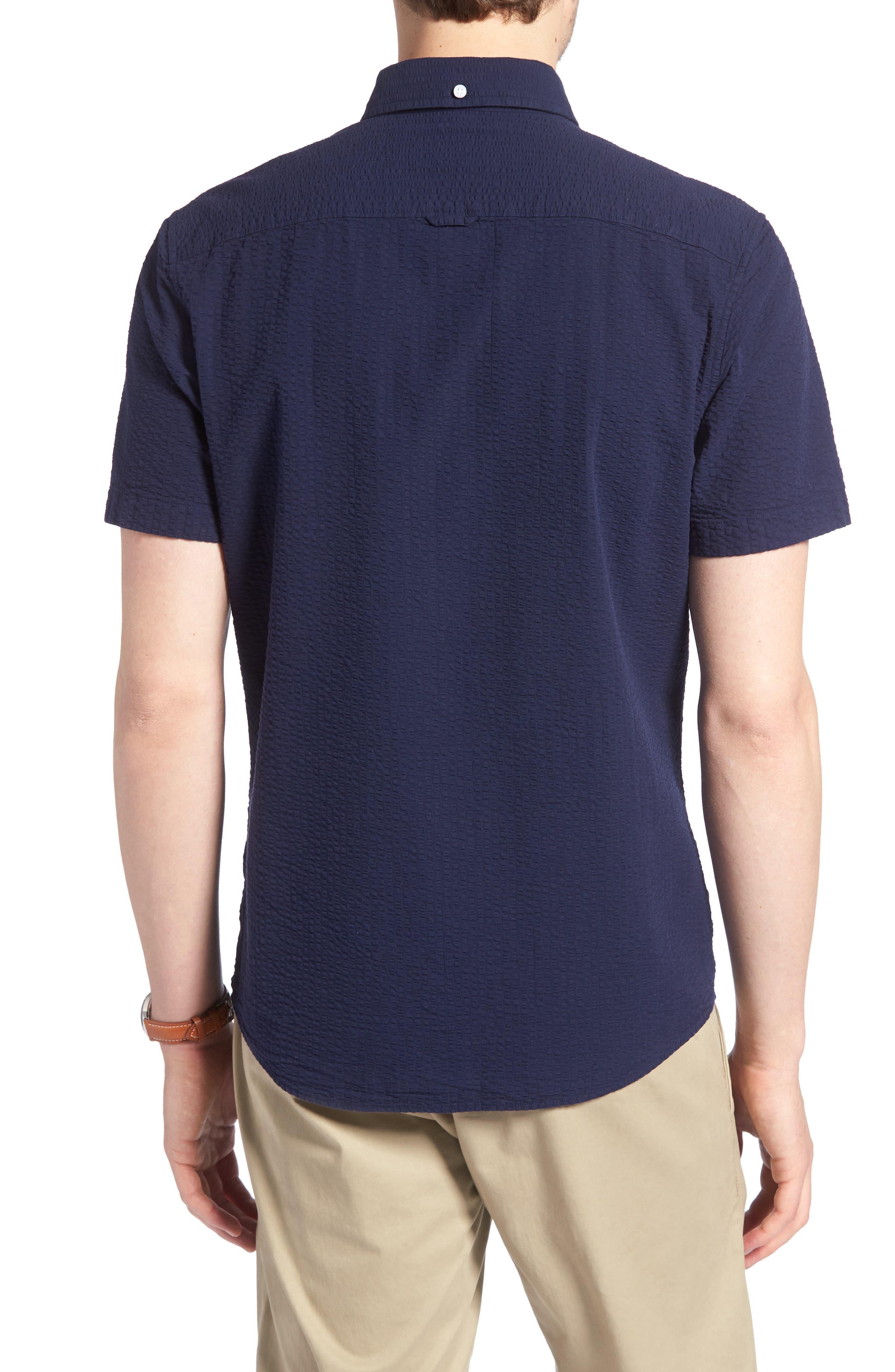 Trim Fit Seersucker Sport Shirt,                             Alternate thumbnail 3, color,                             Navy Iris Seersucker