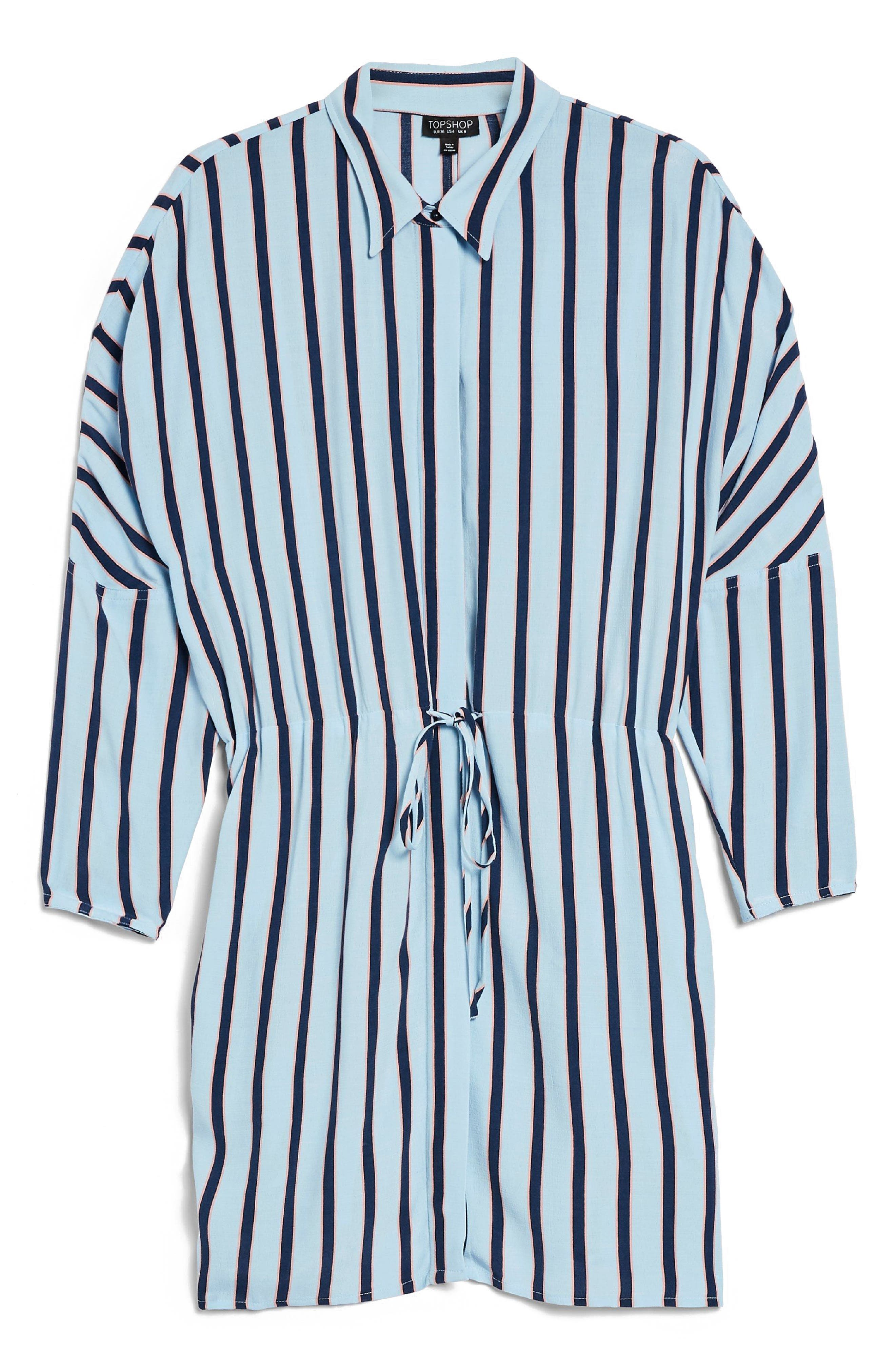 Drawstring Stripe Shirtdress,                             Alternate thumbnail 3, color,                             Blue