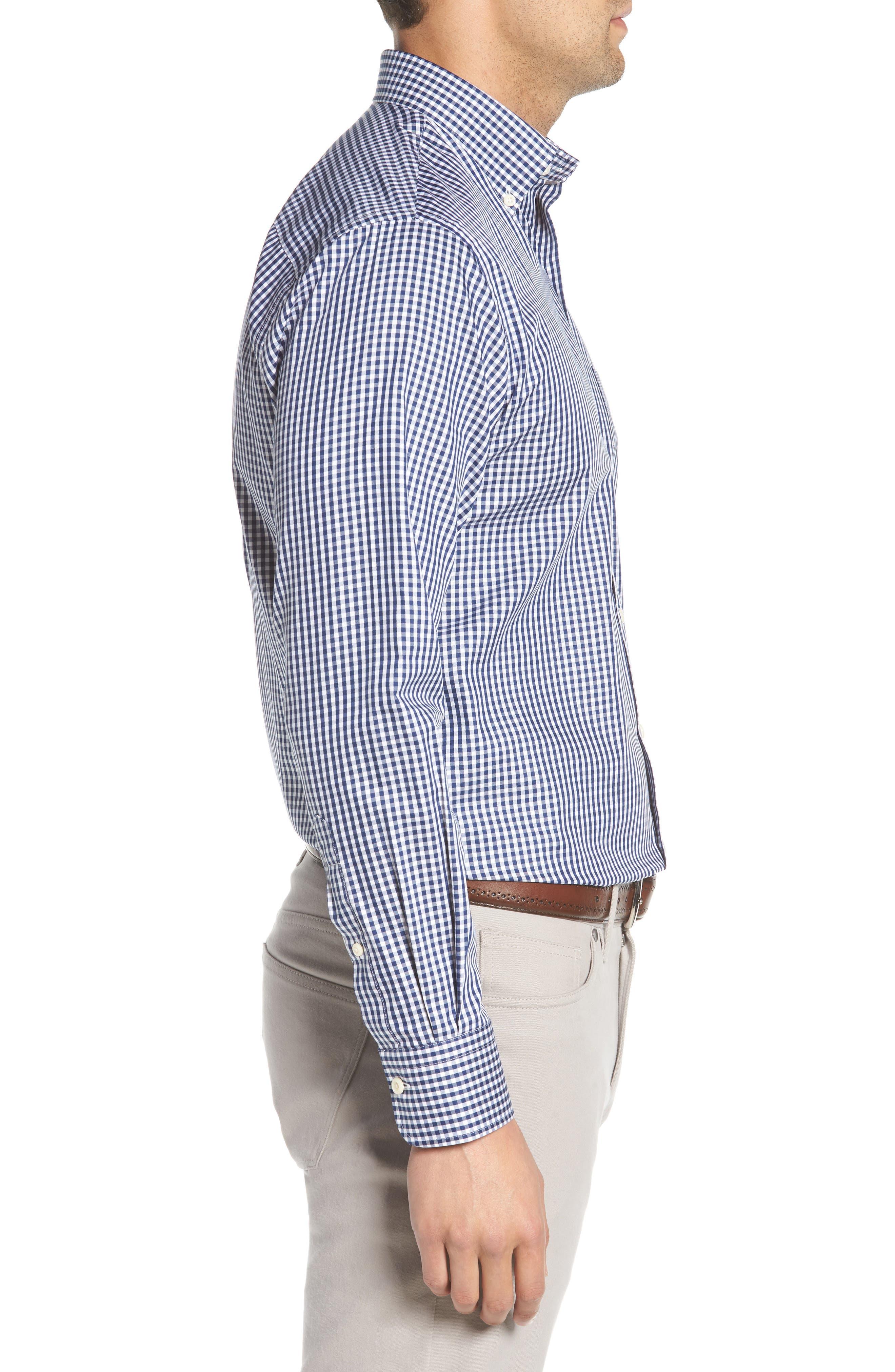 Crown Soft Gingham Sport Shirt,                             Alternate thumbnail 4, color,                             Yankee Blue