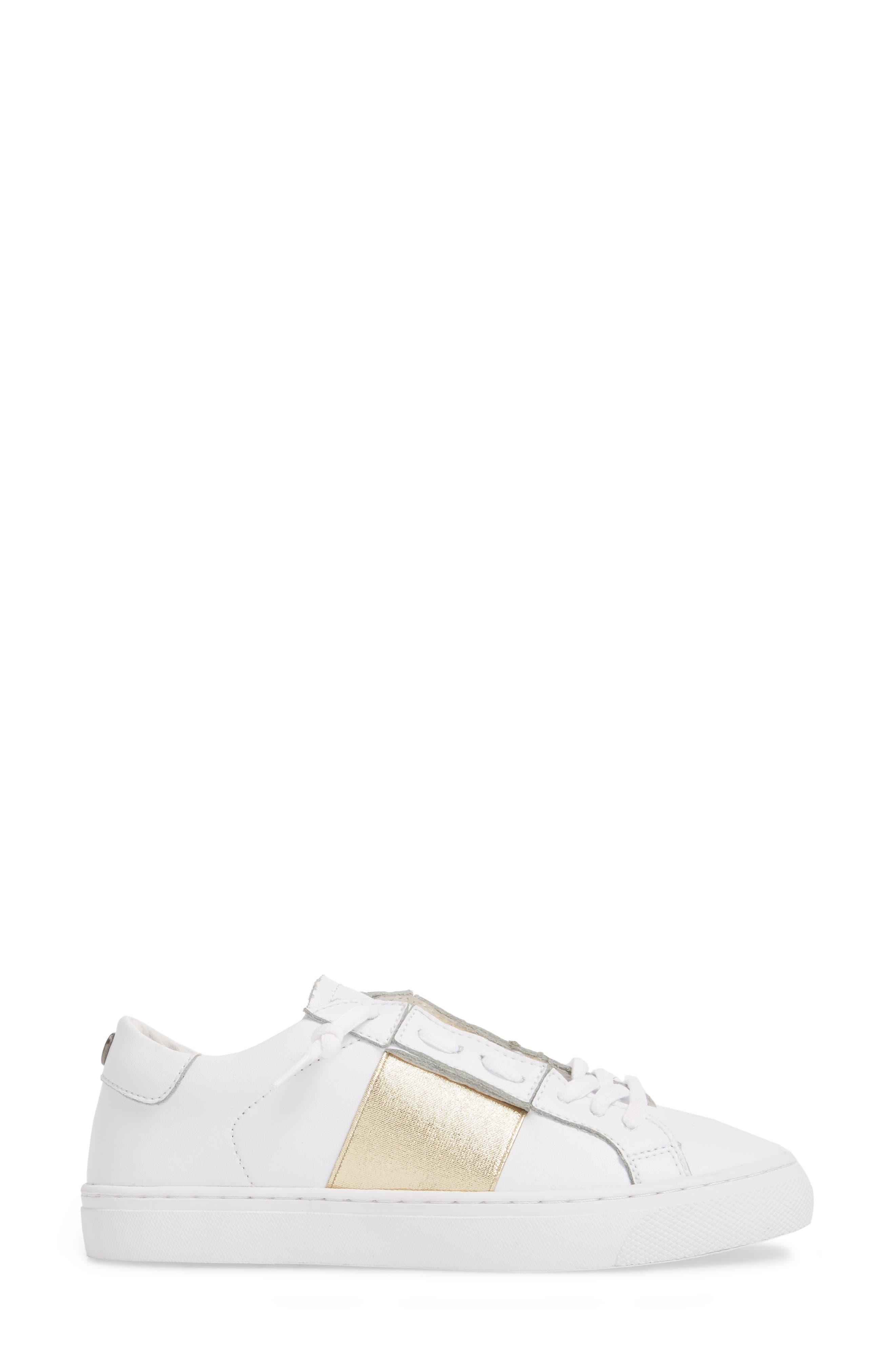 Slip-On Sneaker,                             Alternate thumbnail 3, color,                             Gold Elastic Leather