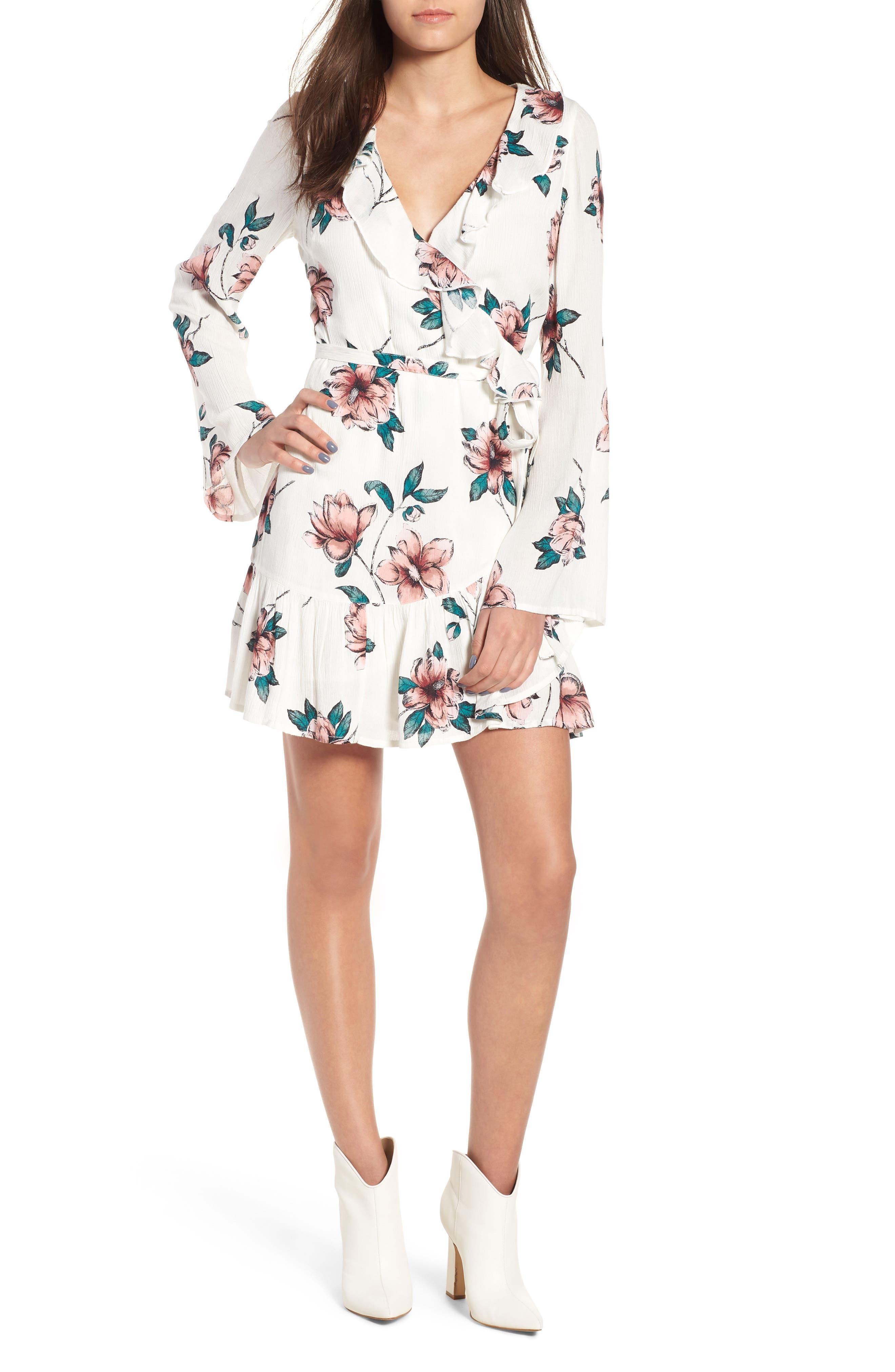 Love and War Ruffle Trim Minidress,                         Main,                         color, Cool Wip