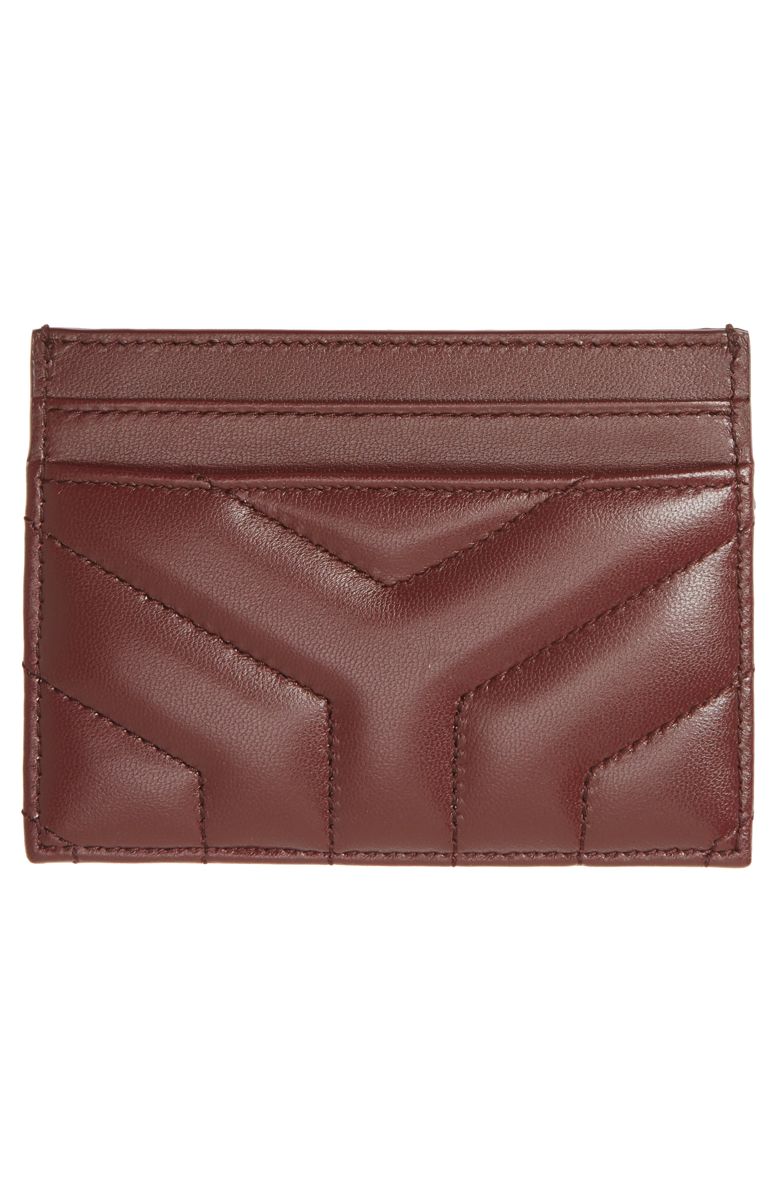 Loulou Monogram Quilted Leather Credit Card Case,                             Alternate thumbnail 2, color,                             Rouge Legion