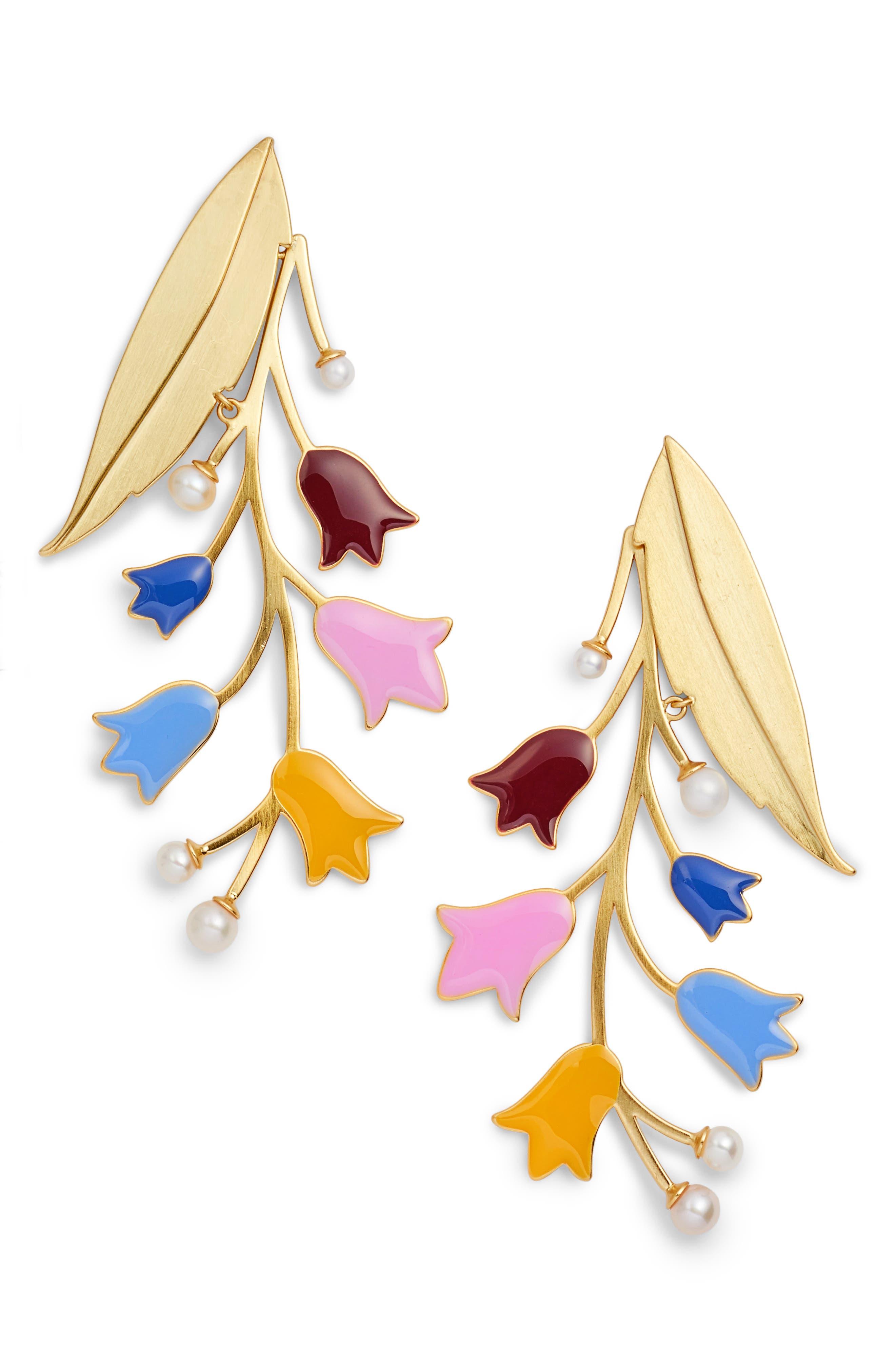 Bellflower Imitation Pearl Statement Earrings,                         Main,                         color, Brass Multi