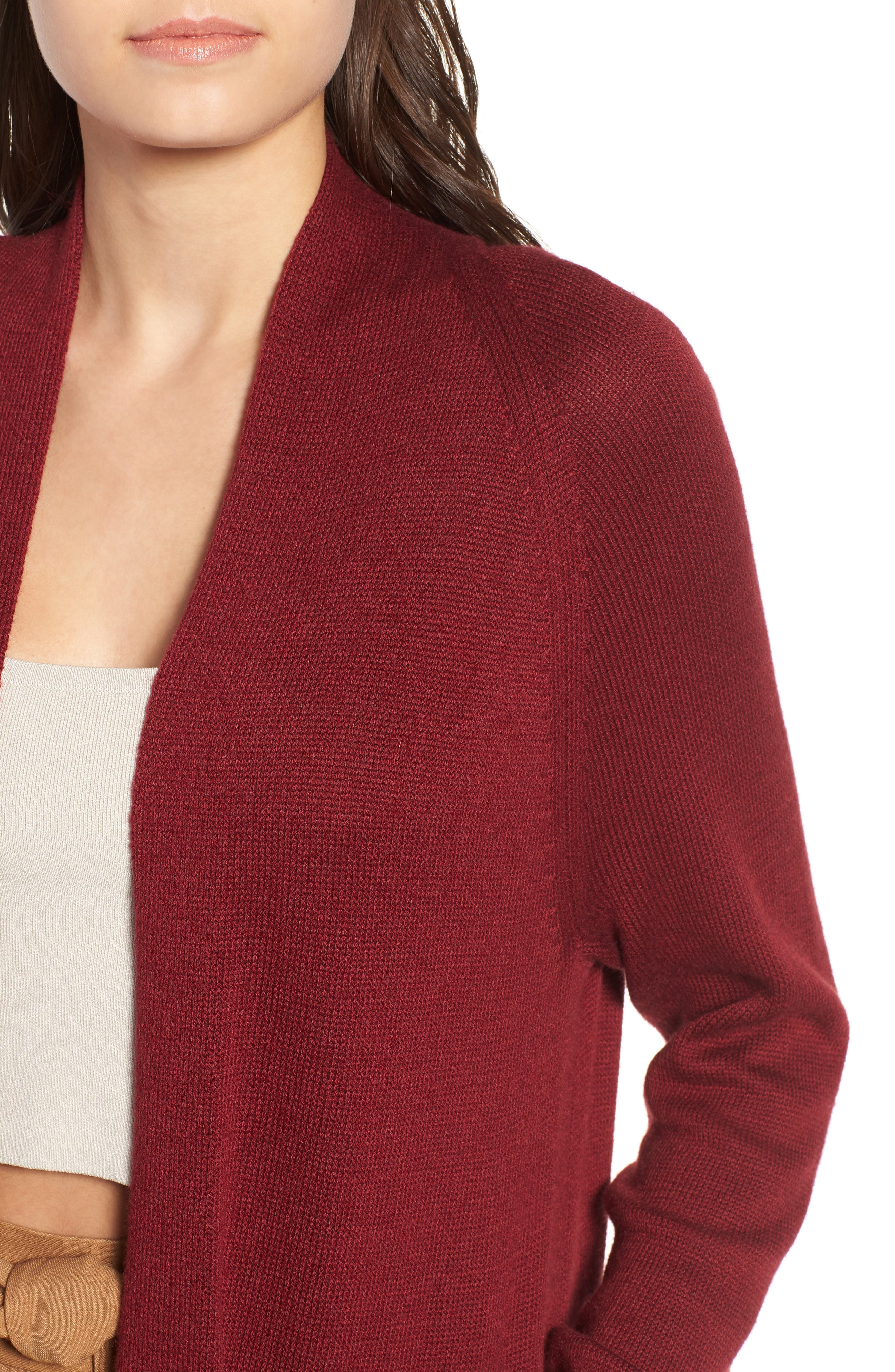 Side Split Midi Cardigan,                             Alternate thumbnail 4, color,                             Red Grape