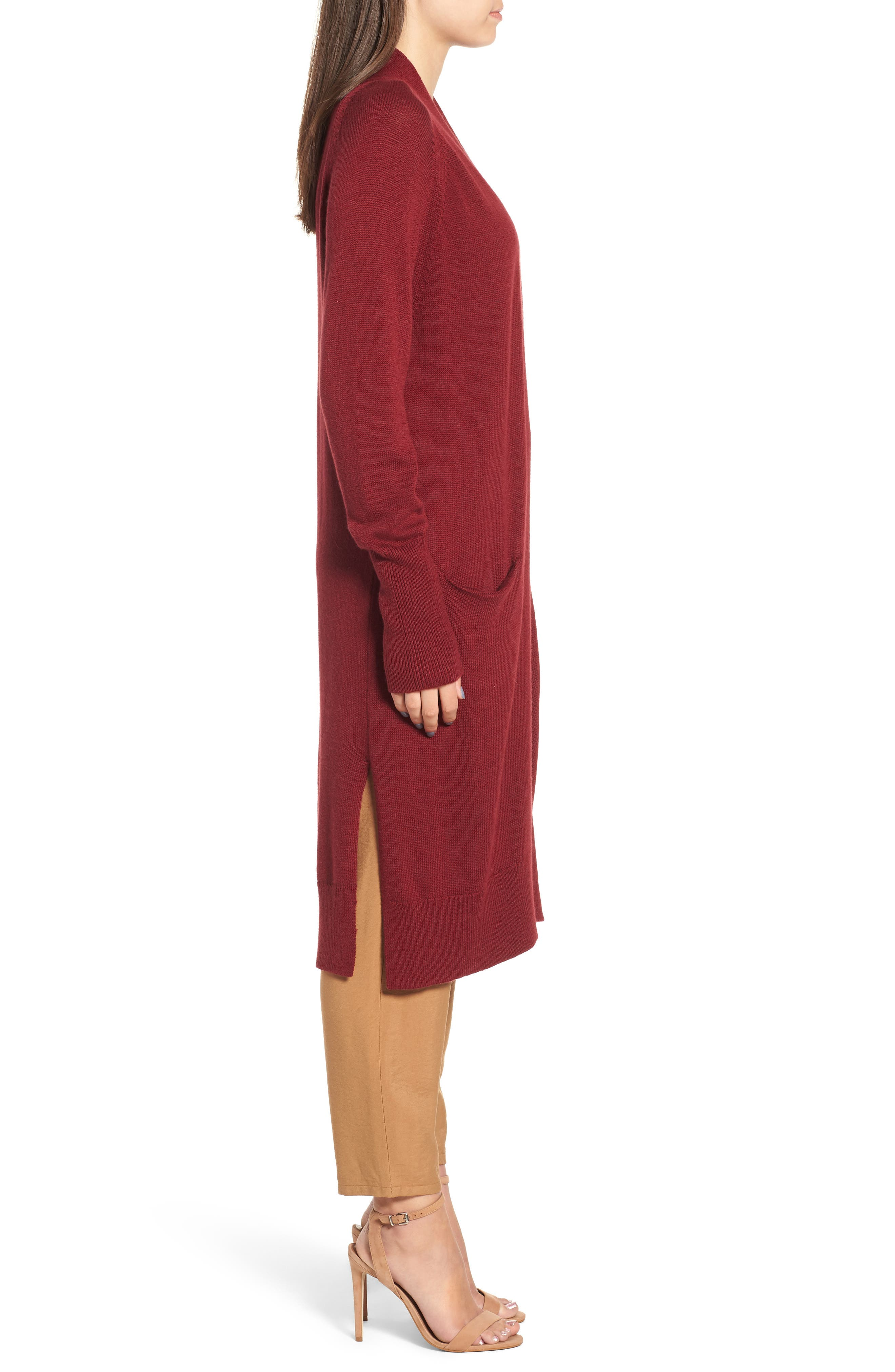 Side Split Midi Cardigan,                             Alternate thumbnail 3, color,                             Red Grape