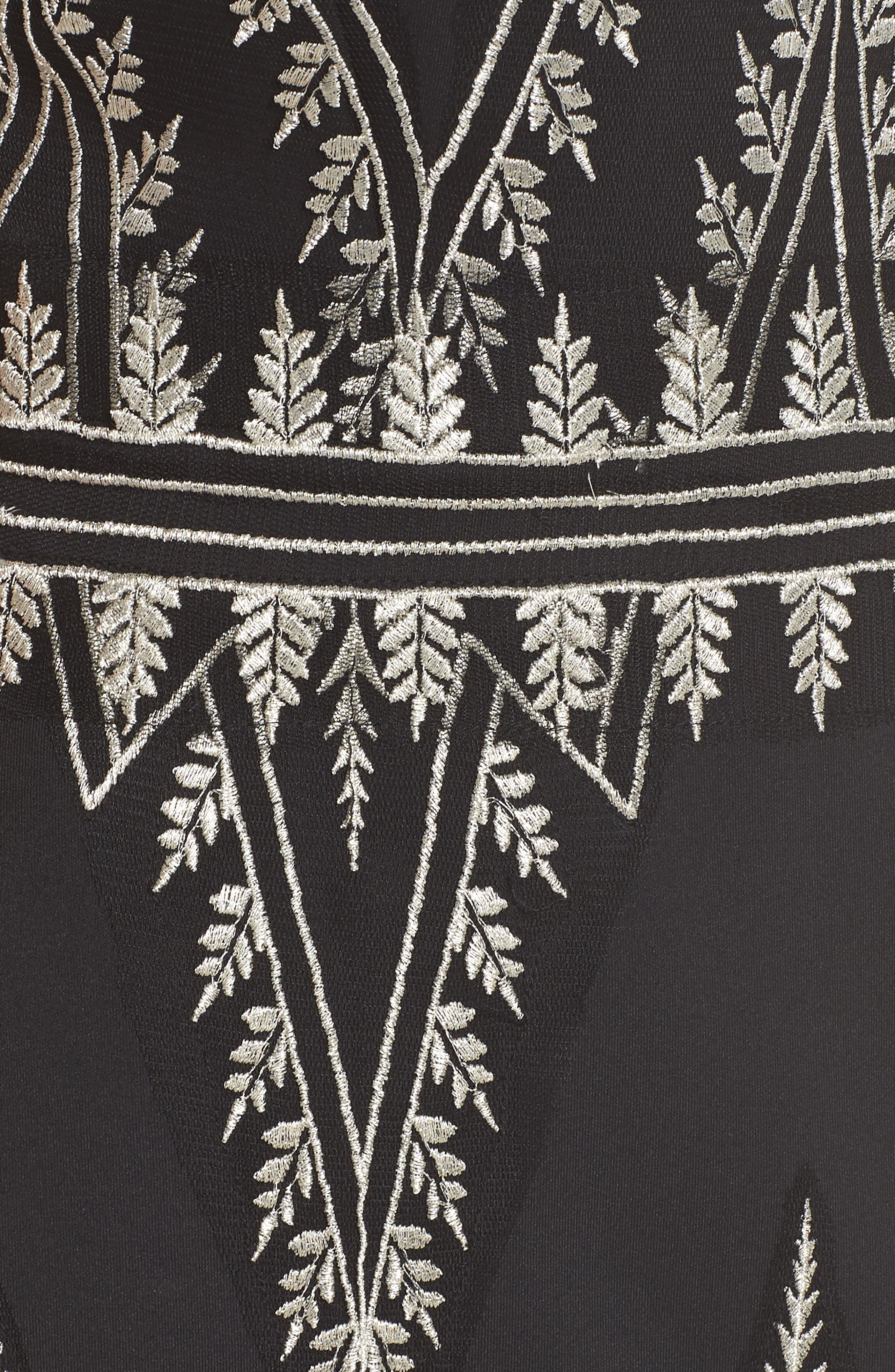 Embroidered Chevron Dress,                             Alternate thumbnail 5, color,                             Black/ Silver
