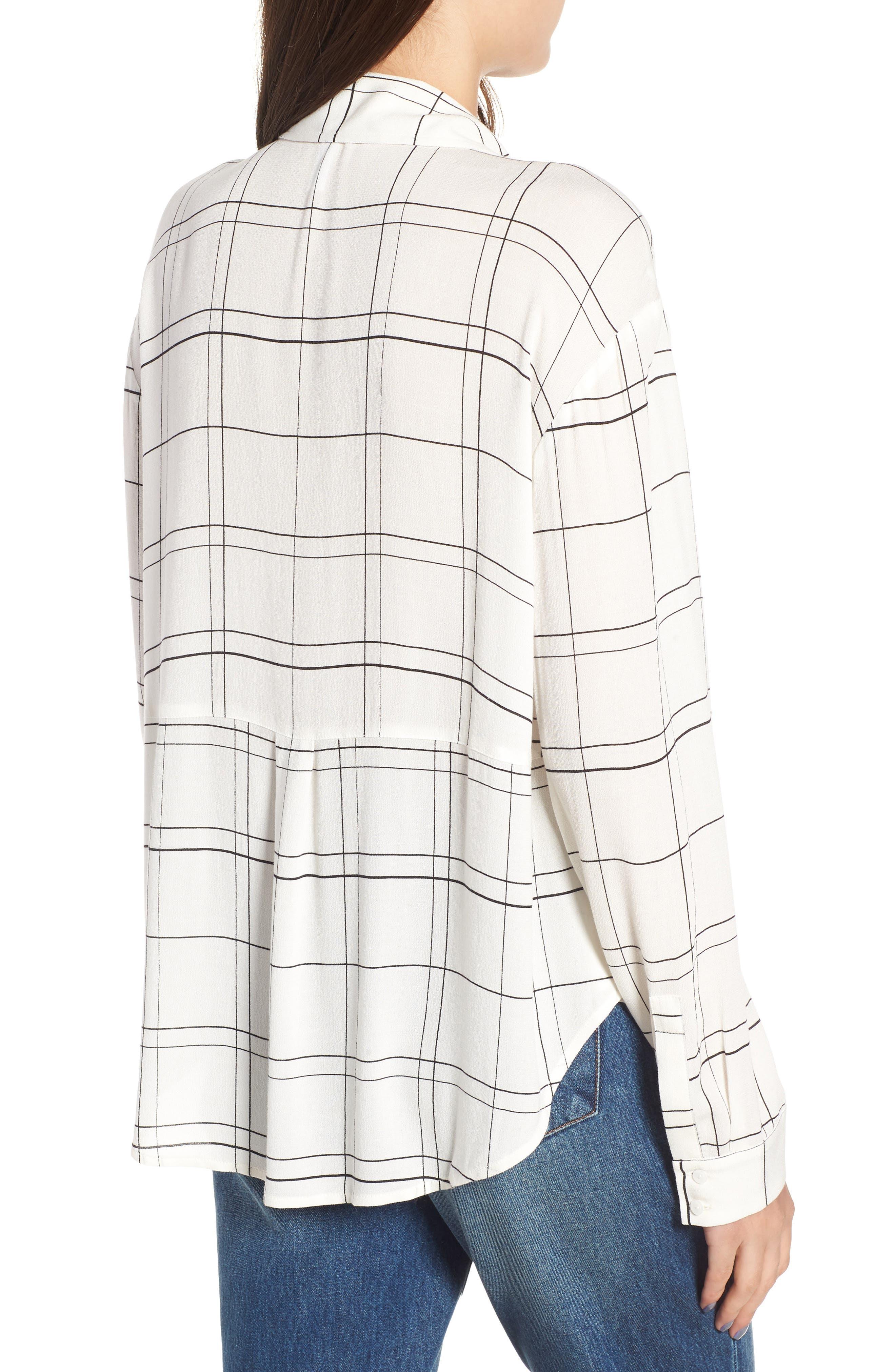 Henley Woven Shirt,                             Alternate thumbnail 2, color,                             Ivory Glam City Check
