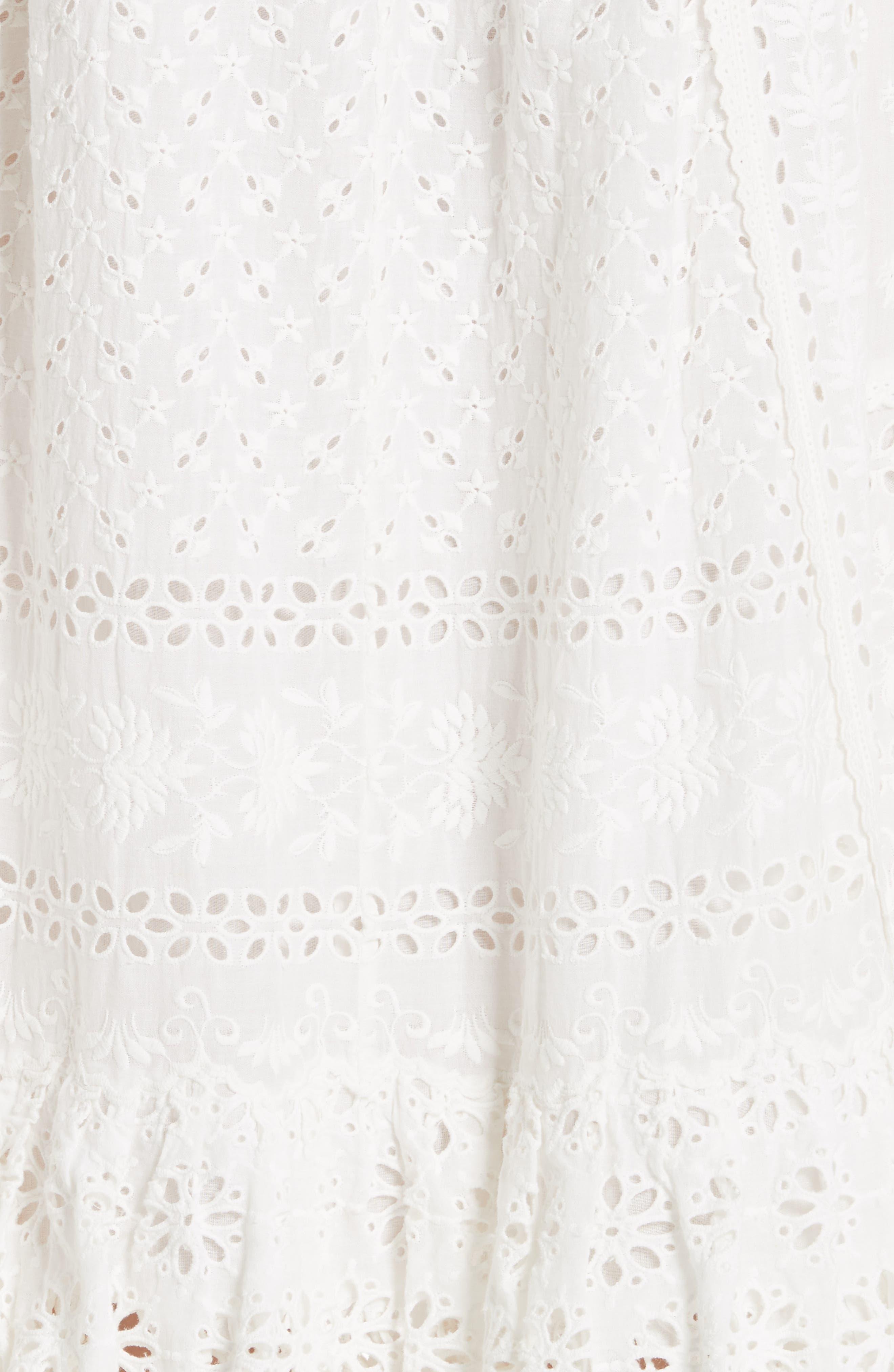 Willow Eyelet Dress,                             Alternate thumbnail 5, color,                             Blanc